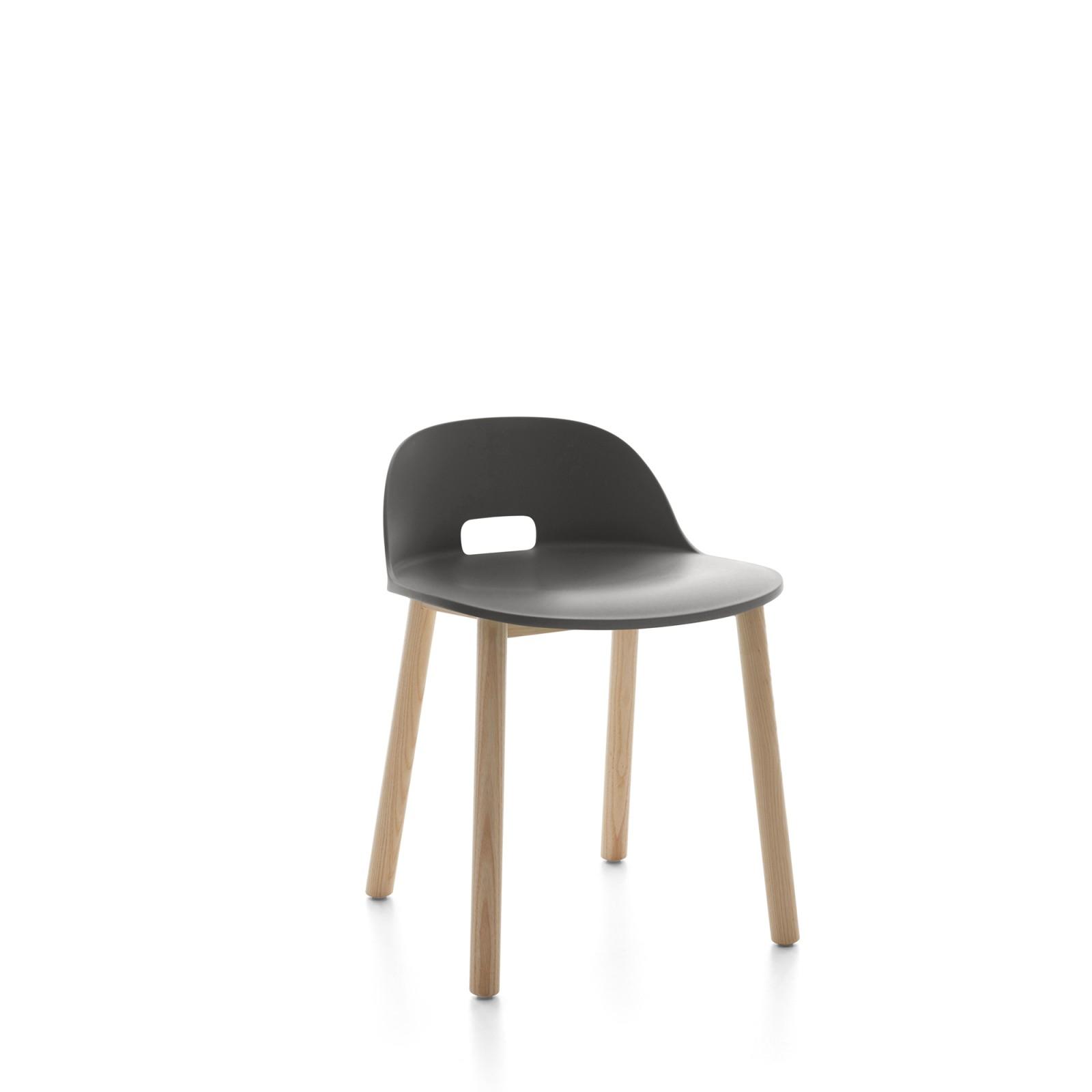 Alfi Chair, Low Back Dark Grey, Natural Light Ash Frame