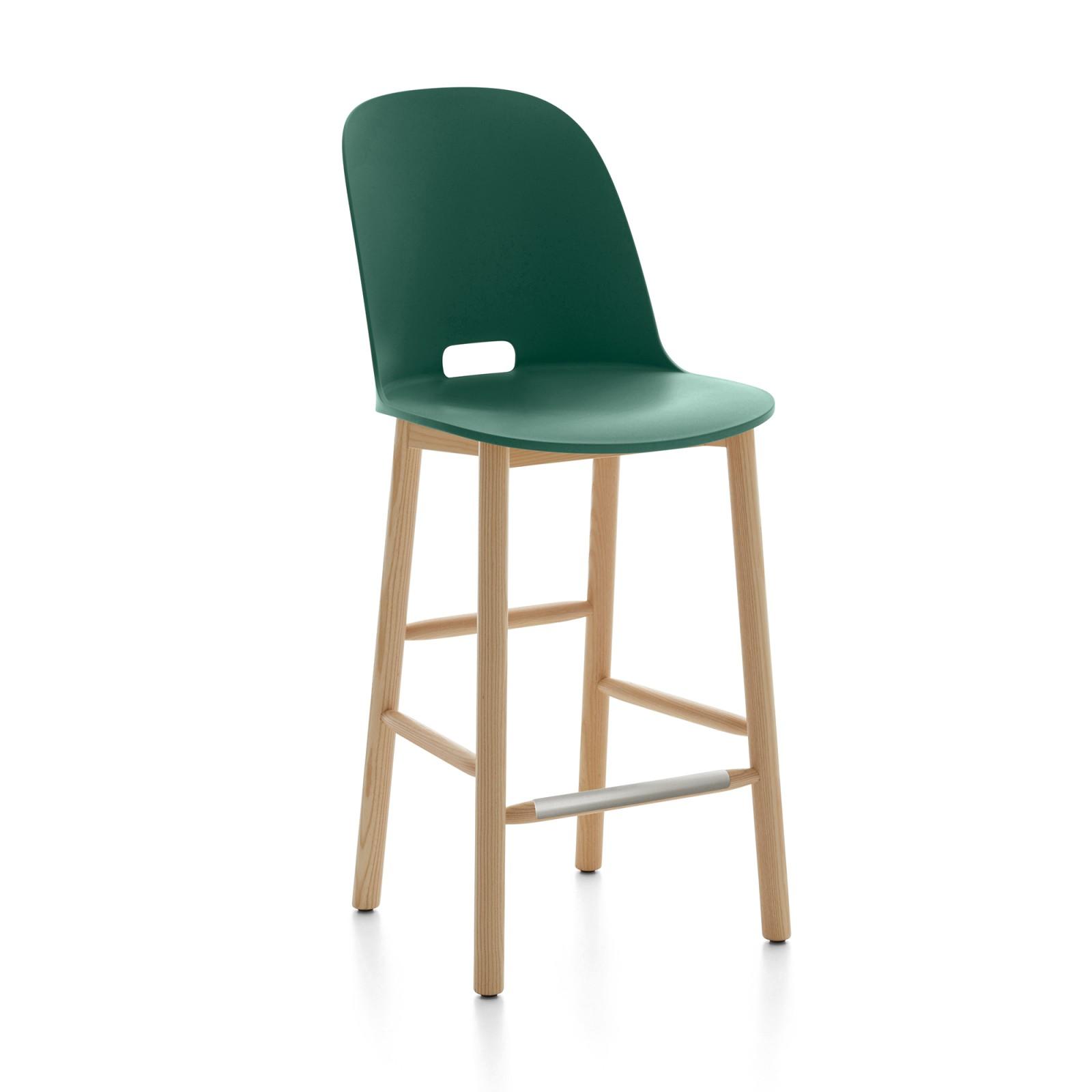 Alfi Counter Stool, High Back Green, Natural Light Ash Frame