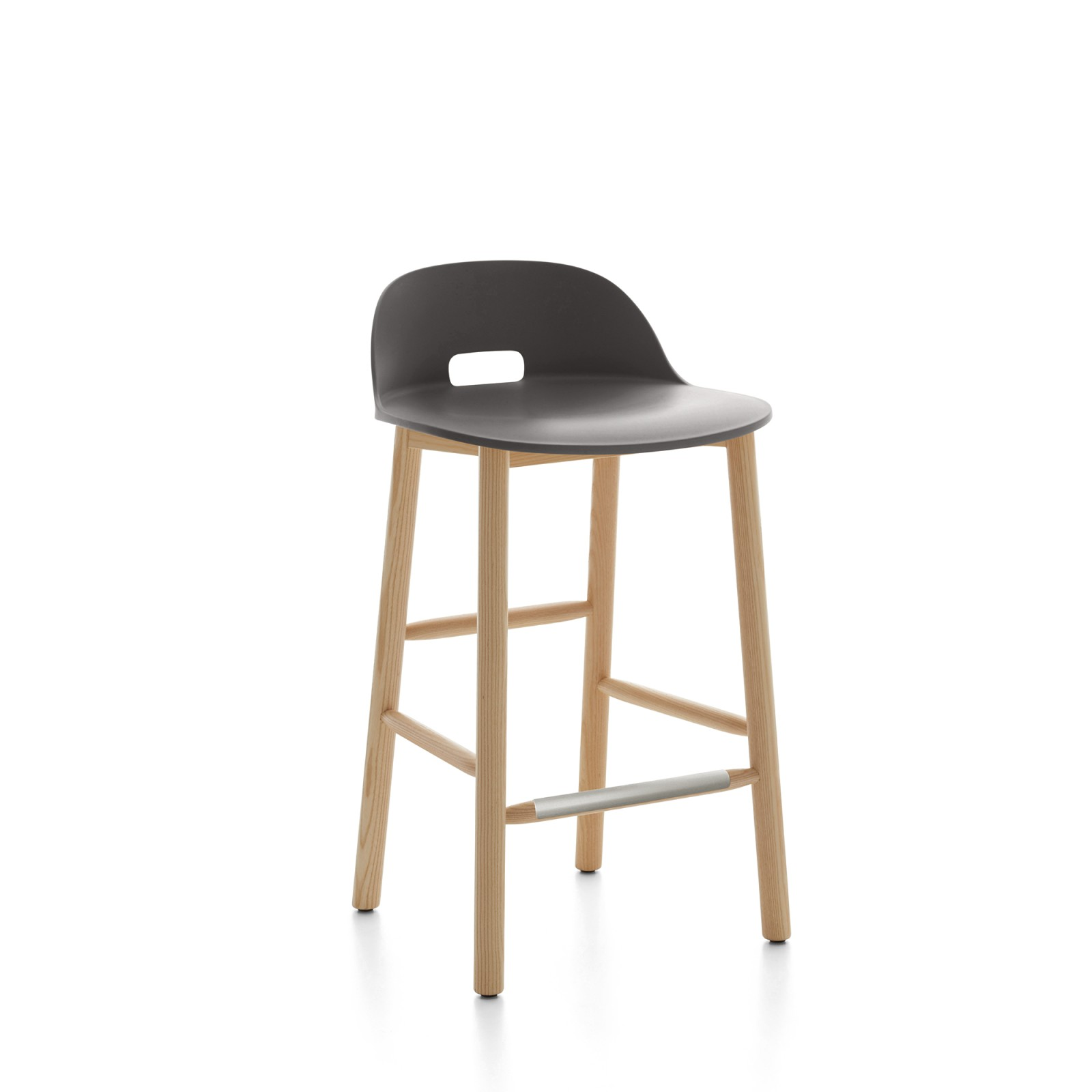 Alfi Counter Stool, Low Back Dark Brown, Natural Light Ash Frame