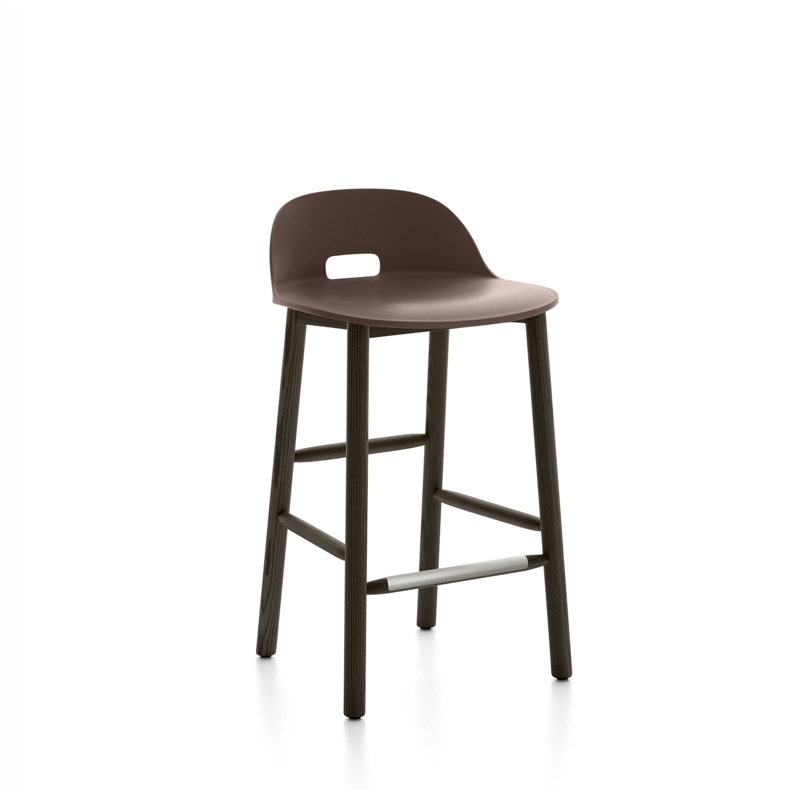 Alfi Counter Stool, Low Back Dark Brown, Dark Stained Ash Frame