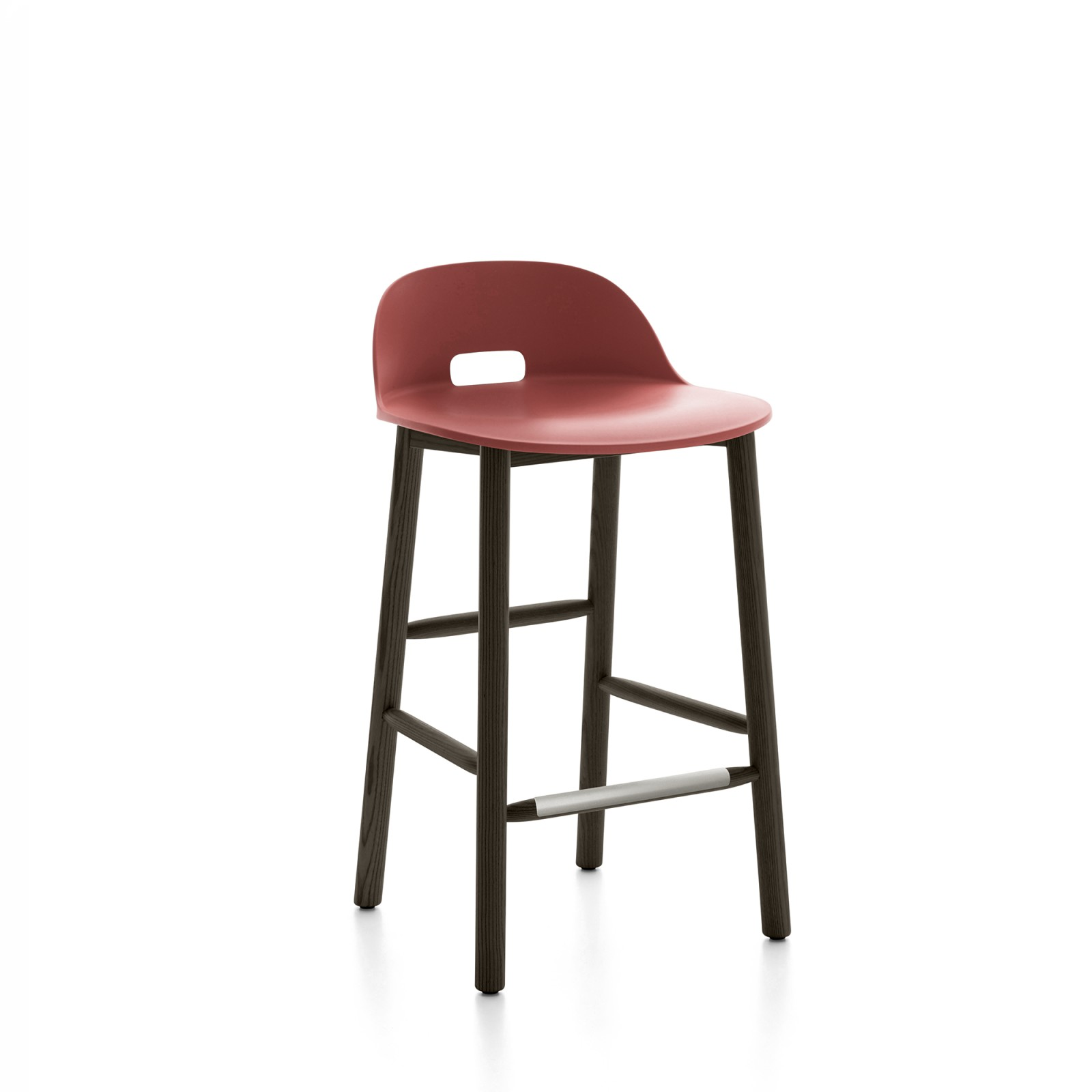 Alfi Counter Stool, Low Back Red, Dark Stained Ash Frame