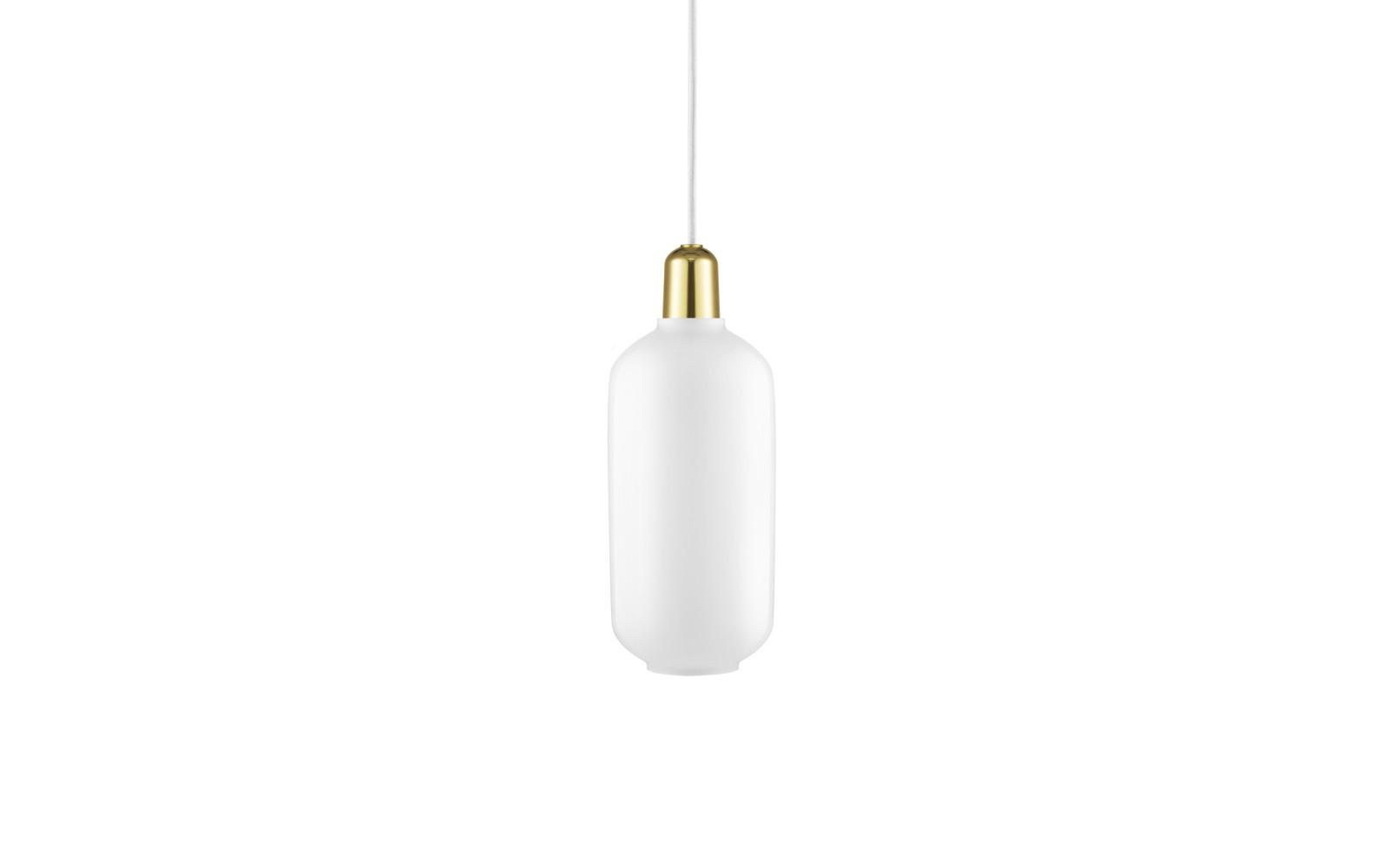 Amp Pendant Light White/Brass, Large