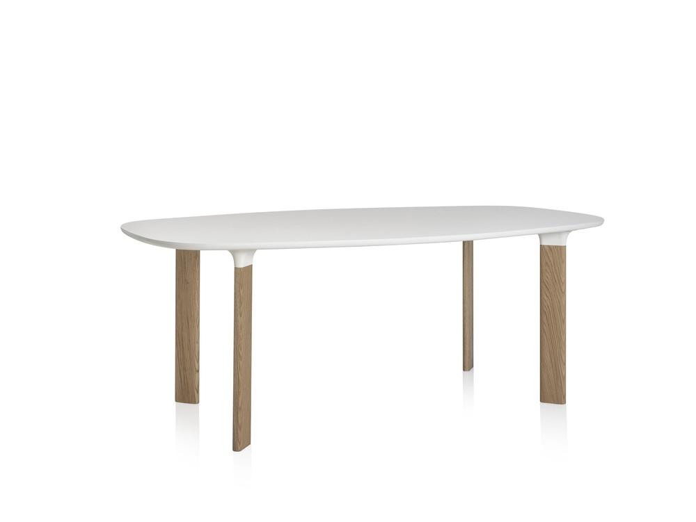 Analog Dining Table Medium, White Laminate, White Trumpet/Oak