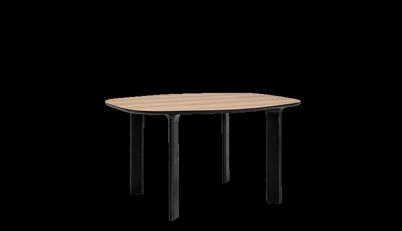 Analog Dining Table Small, Walnut Veneer, Black Trumpet/Black Lacquered Oak