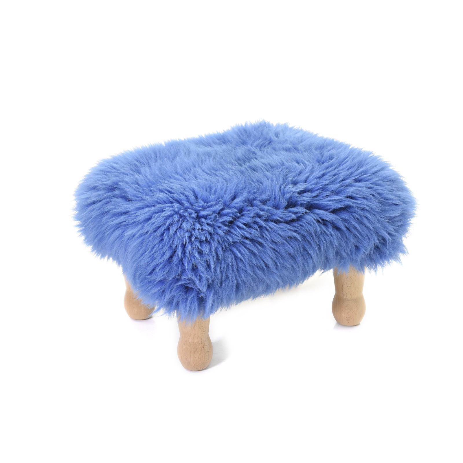 Angharad sheepskin Footstool Angharad Baa Stool in Cornflower Blue