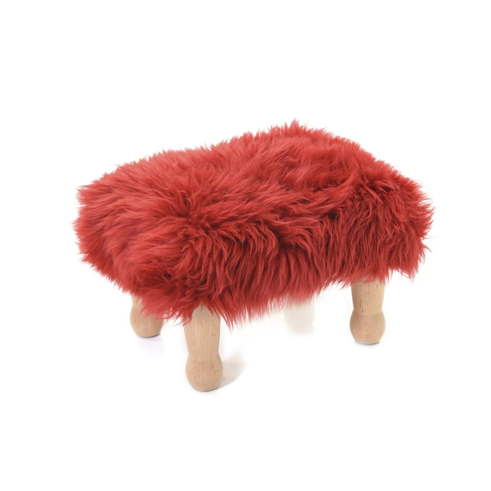 Angharad sheepskin Footstool Angharad Baa Stool in Dragon Red