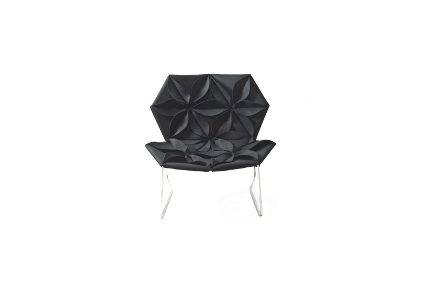 Antibodi Armchair with Flowers B0250 - Leather Class Black Magic - Z, Front Side Petal