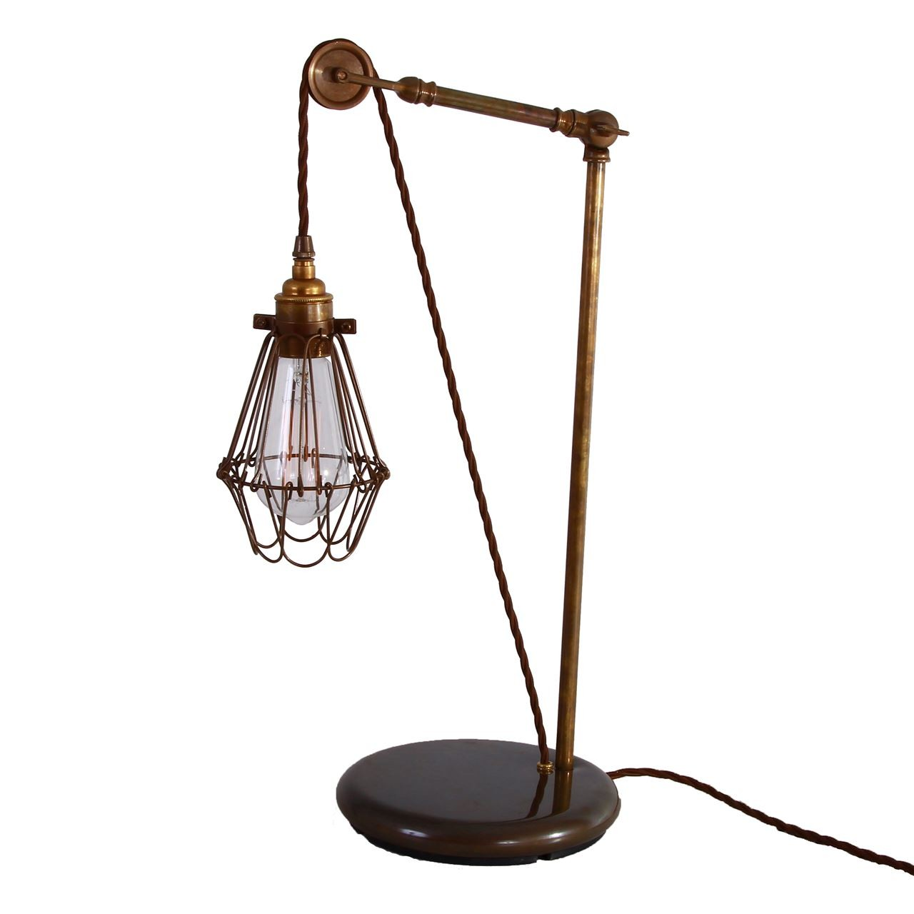 Apoch Pulley Cage Table Lamp Antique Brass