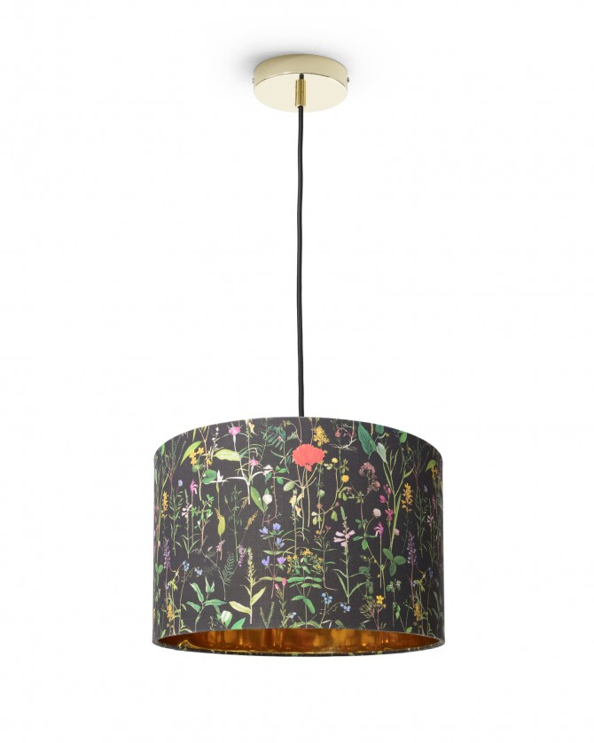 Aquafleur Anthracite Drum Pendant Light