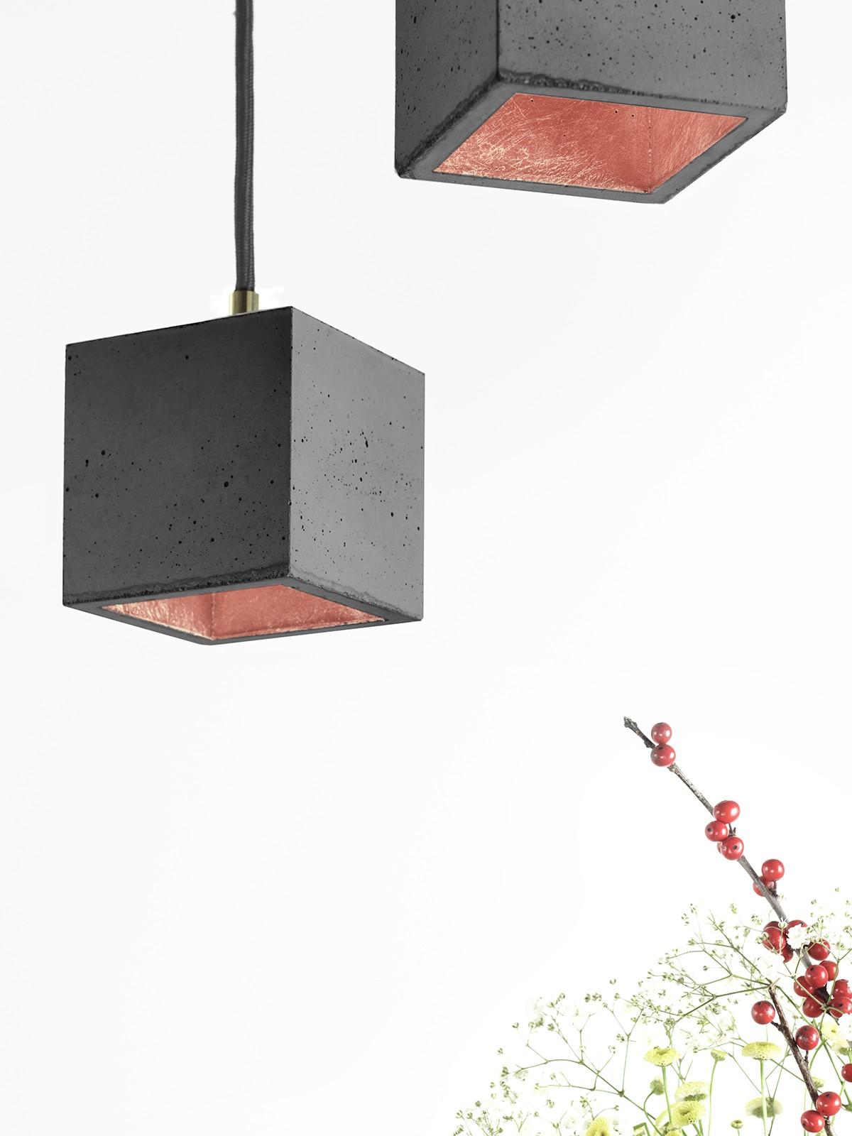 [B6] Pendant Light Cubic Small Dark Grey Concrete, Copper Plating