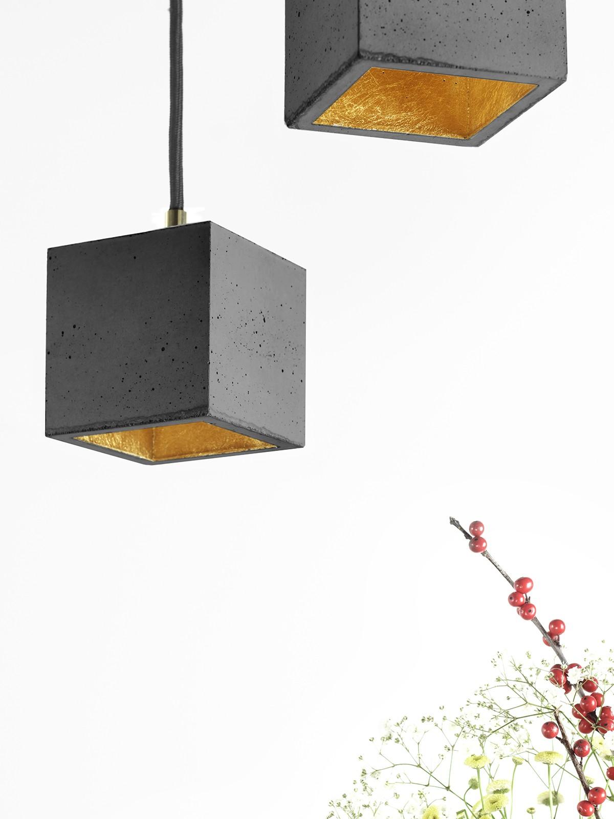 [B6] Pendant Light Cubic Small Dark Grey Concrete, Gold Plating