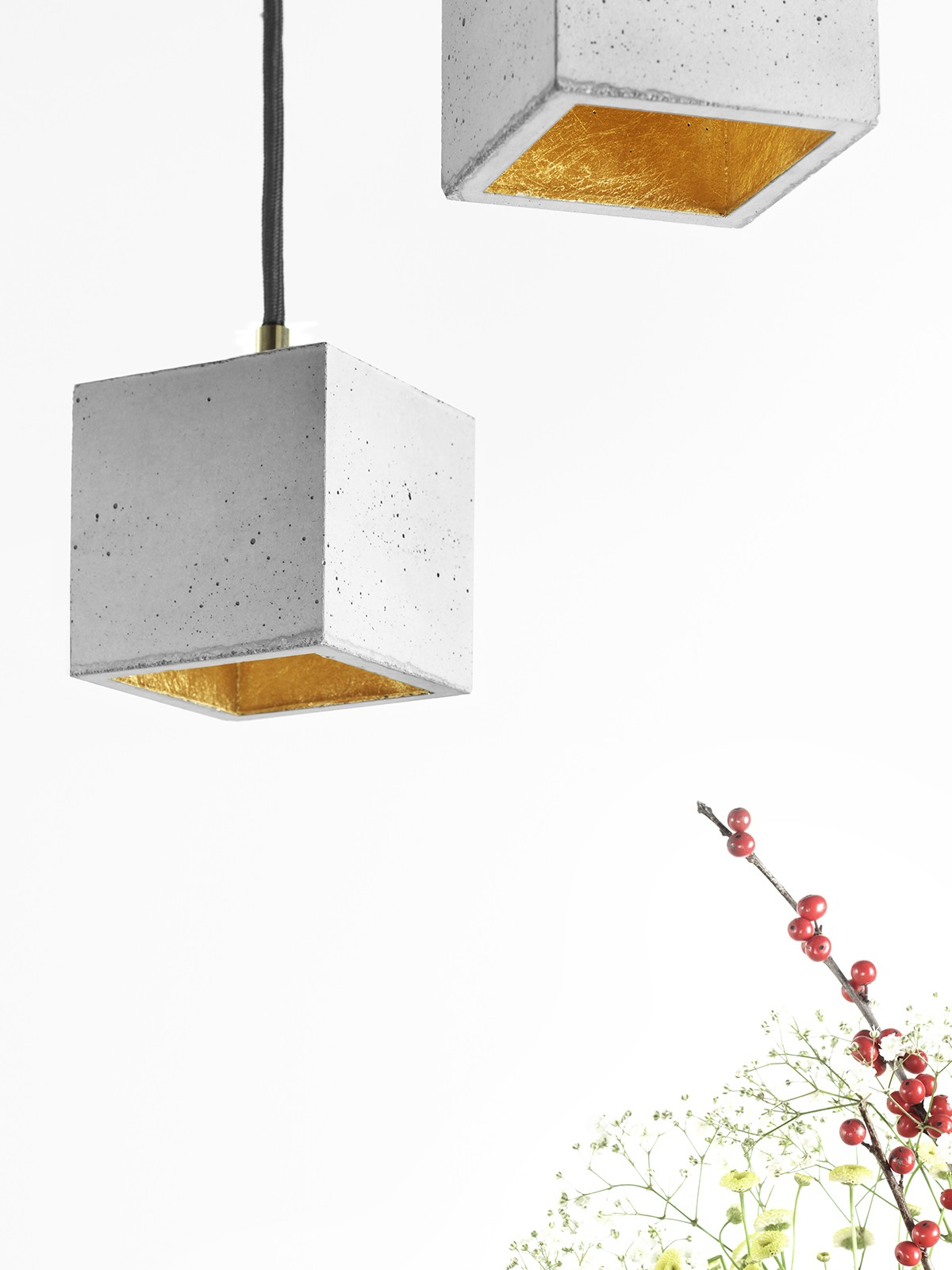 [B6] Pendant Light Cubic Small Light Grey Concrete, Gold Plating