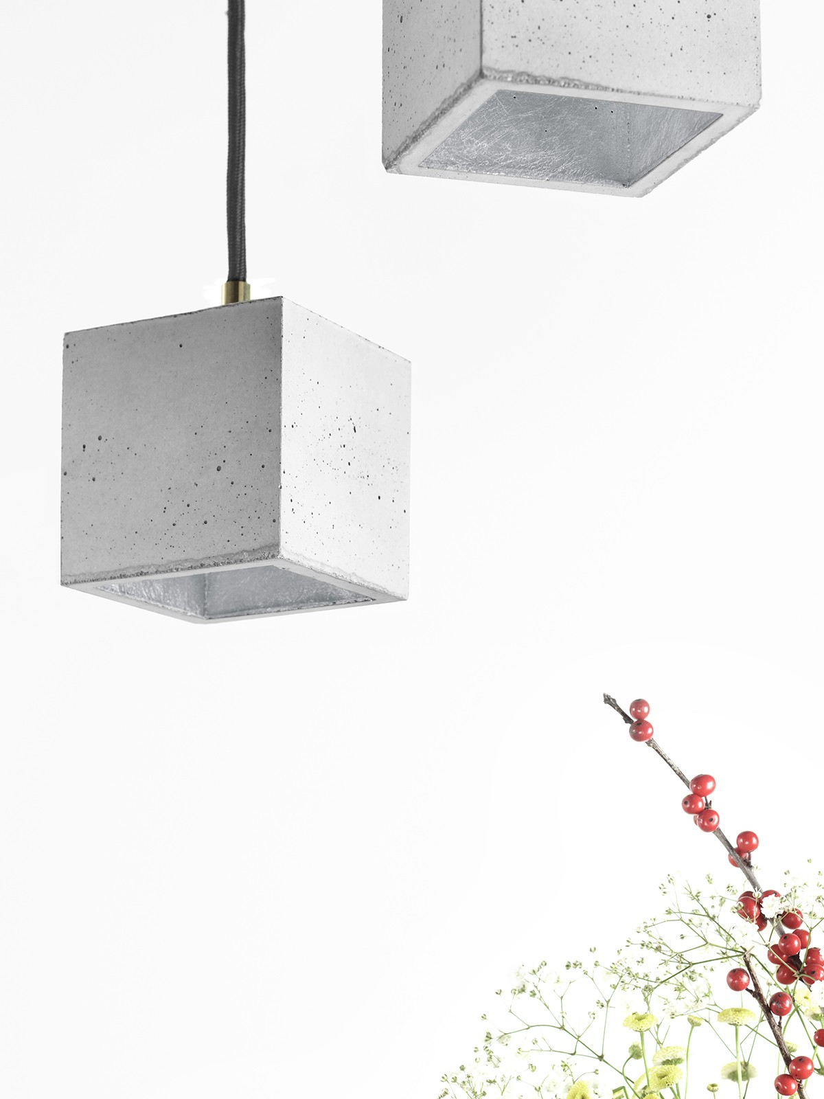 [B6] Pendant Light Cubic Small Light Grey Concrete, Silver Plating