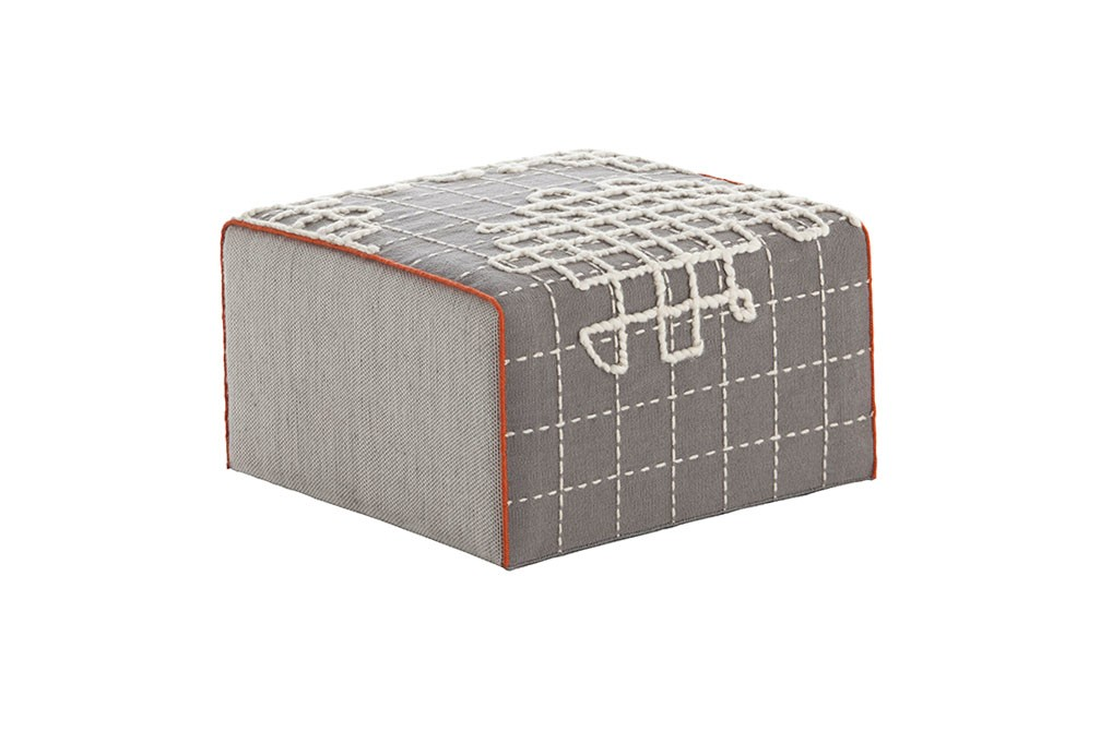 Bandas Small Pouf A Gray