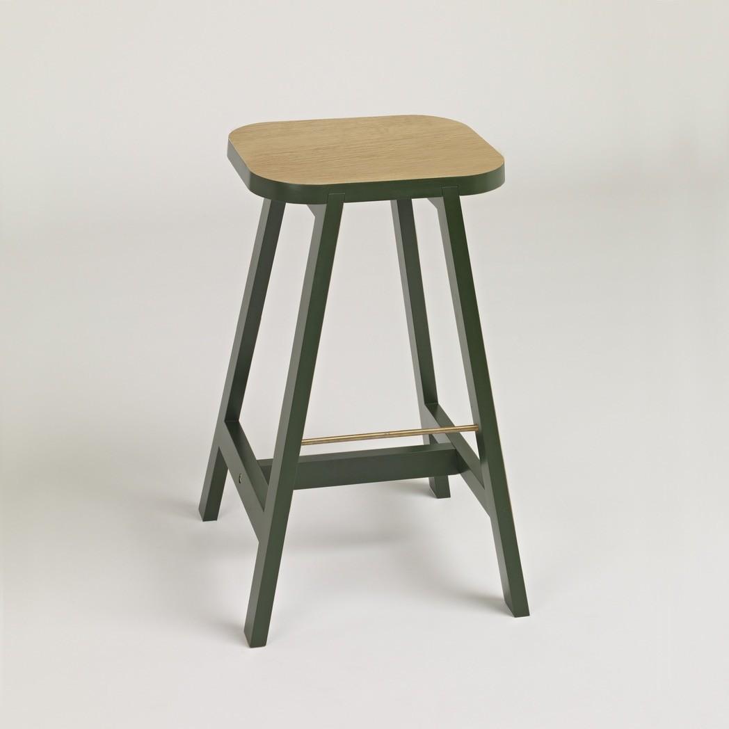 Bar Stool Three Oak, Oxford Green, 65 cm Height