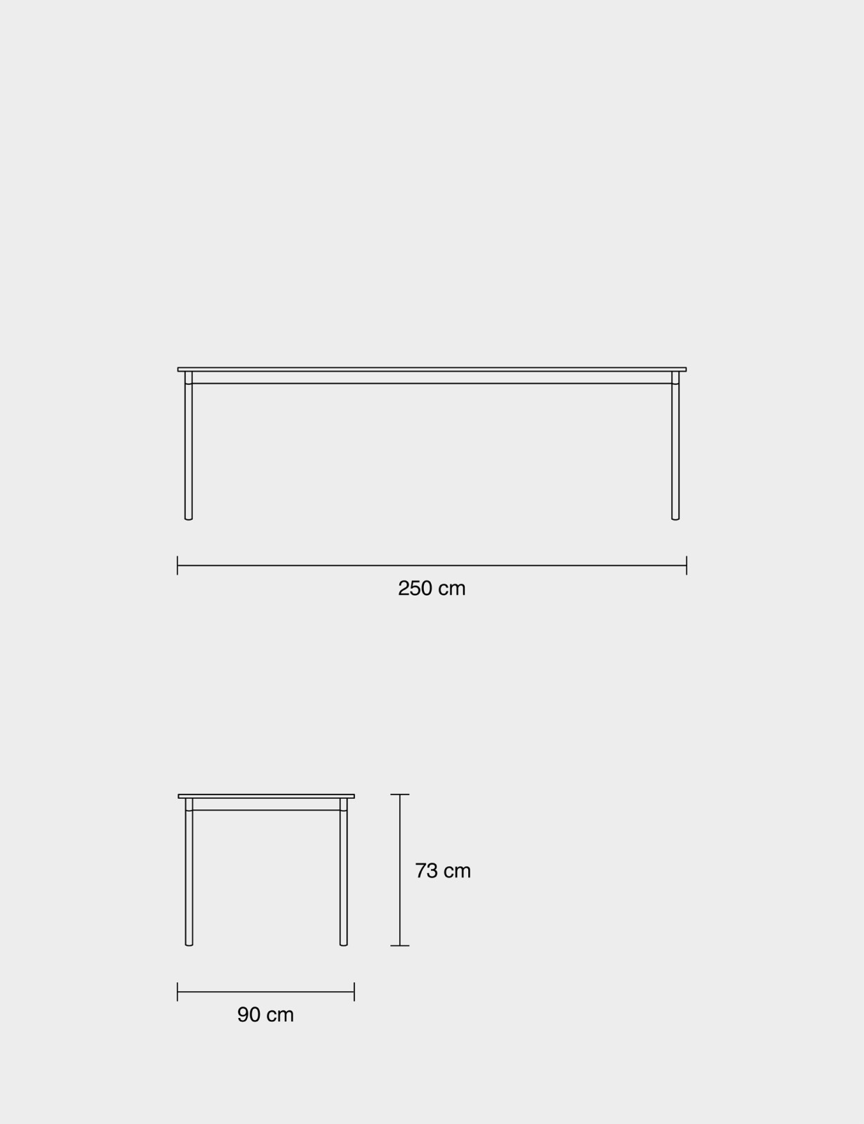 Base Rectangular Table 190 x 85, White/Black Linoleum/Plywood