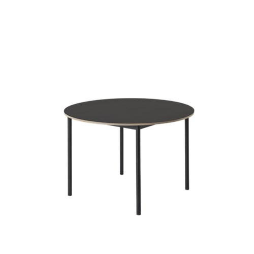 Base Round Table Black Linoleum Top, Plywood Edge, Black Base, 90