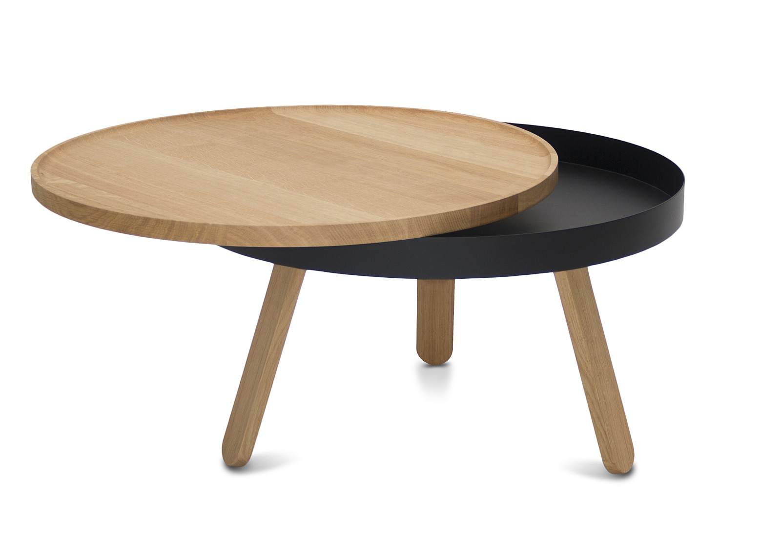 Batea M - Coffee table with storage Oak & Black