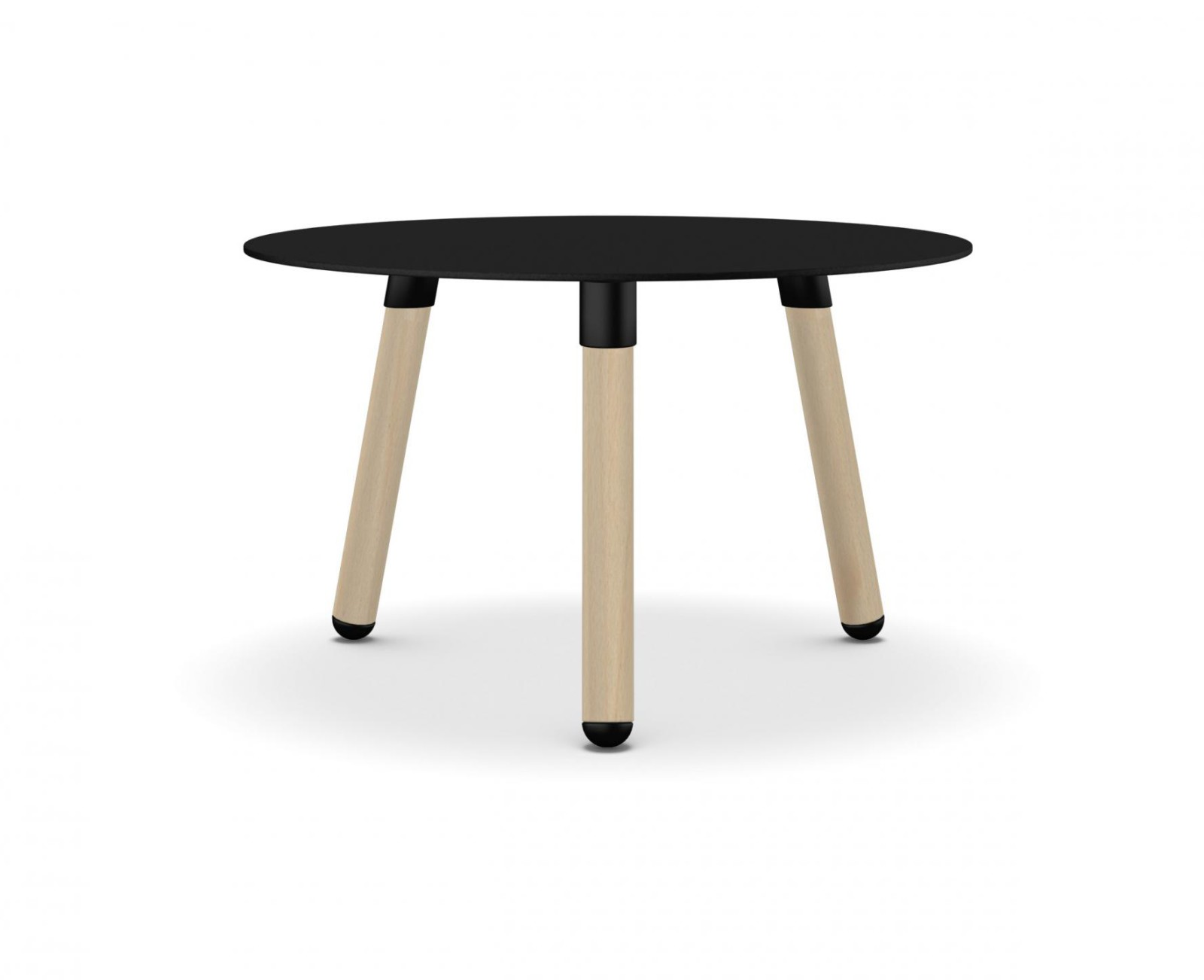 BCN Round Dining Table - 3 Legs Solid beech, Black laminate, 33cm