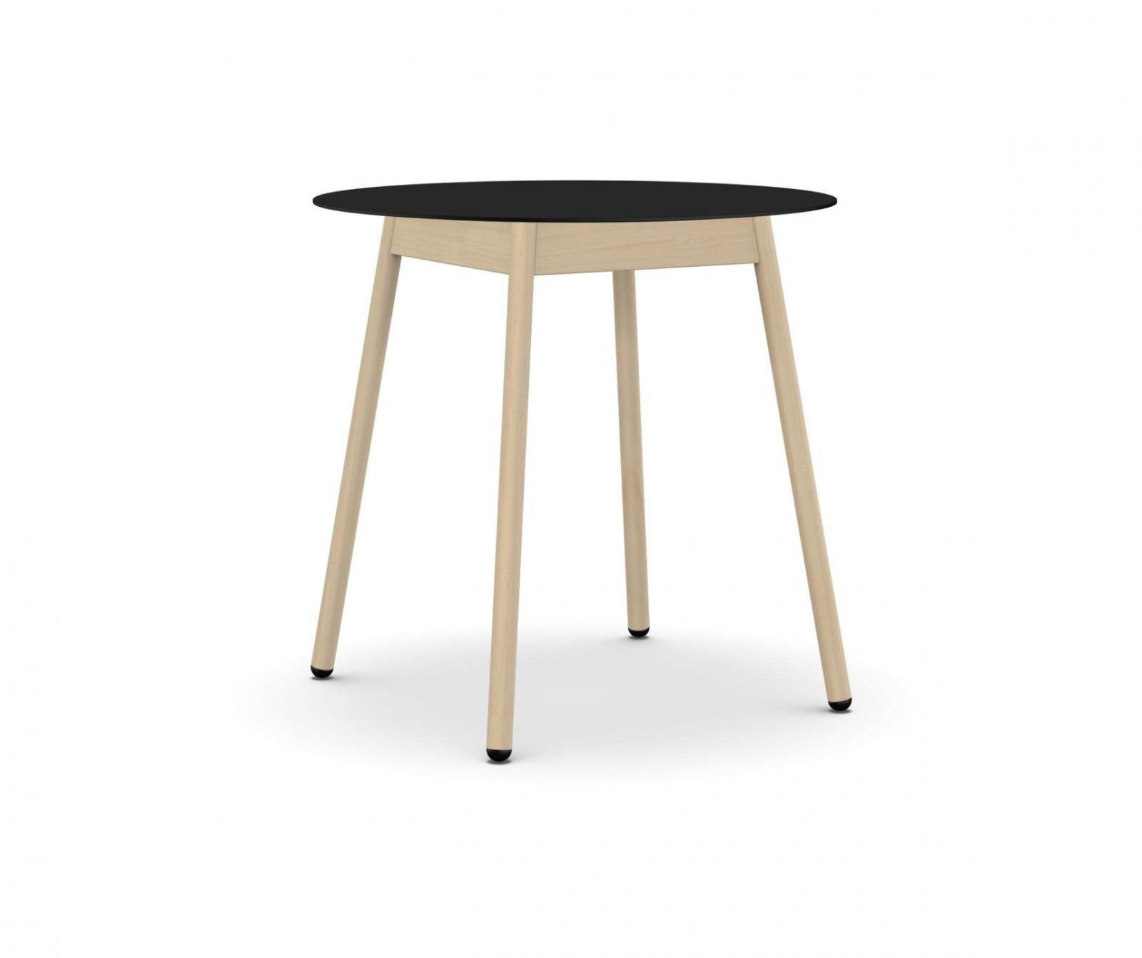 BCN Round Dining Table - 4 Legs Solid beech, Black laminate, H100 x D78