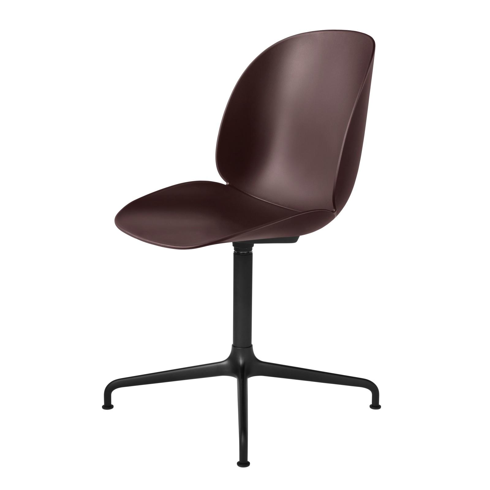 Beetle Dining Chair - Casted Swivel Base Plastic Dark Pink, Frame Matt Black