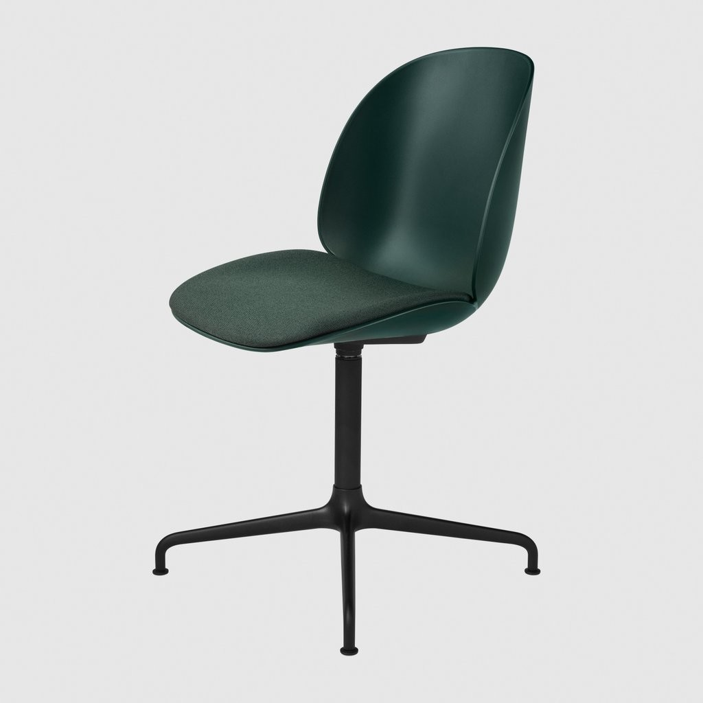 Beetle Dining Chair - Casted Swivel Base - Seat Upholstered Shell Plastic Green, Messenger 0087, Fra