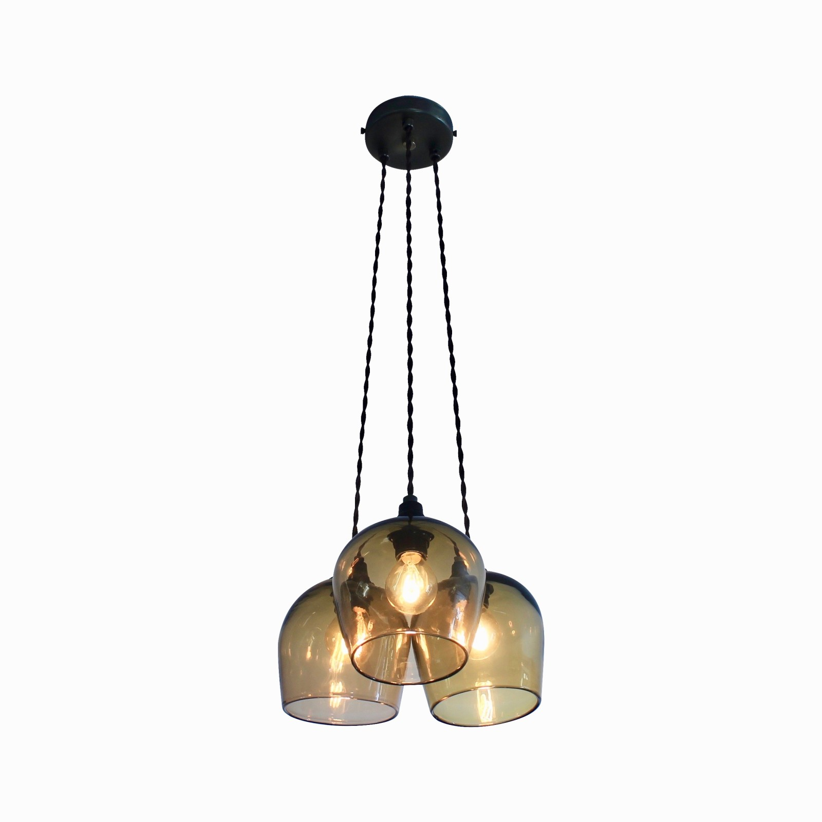 Bell 3-Drop Pendant Light Honey, 12.5cm