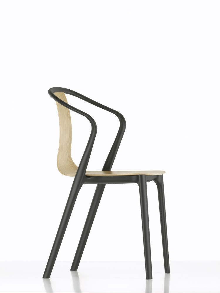 Belleville Armchair with Wood Shell 04 Dark oak with protective vanish