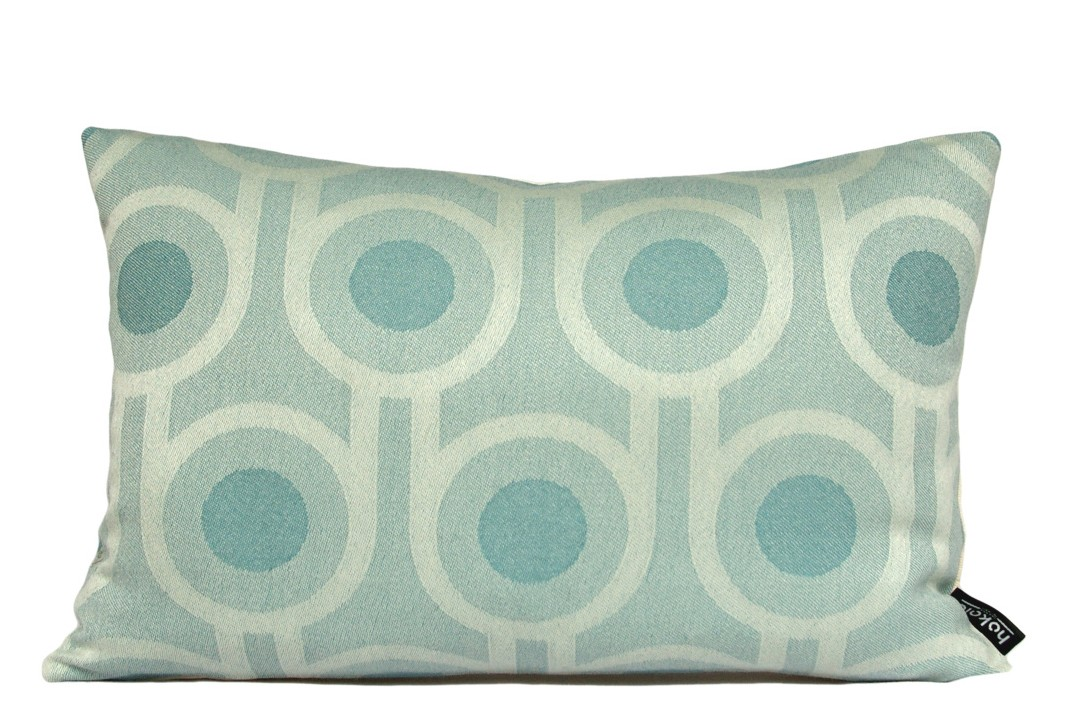 Benedict Rectangle Cushion Blue, Large Repeat Pattern, Rectangular