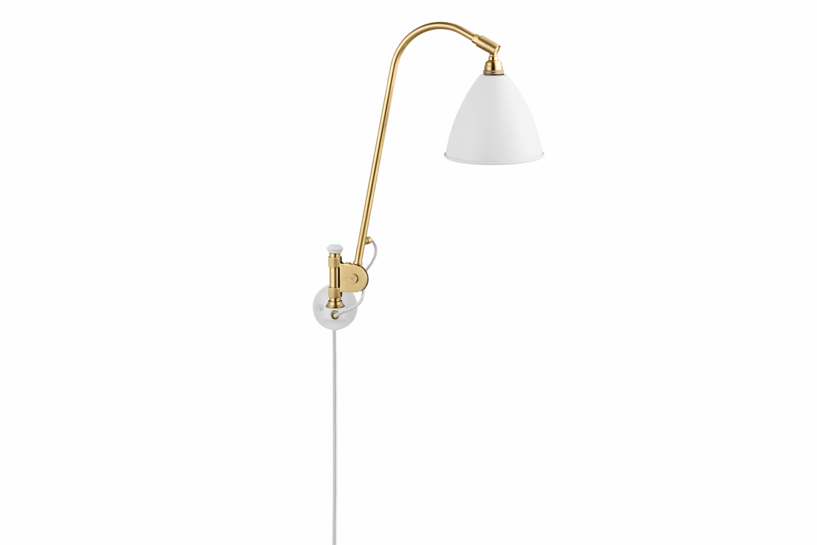 Bestlite BL6 Wired Wall Light Matt White and Brass