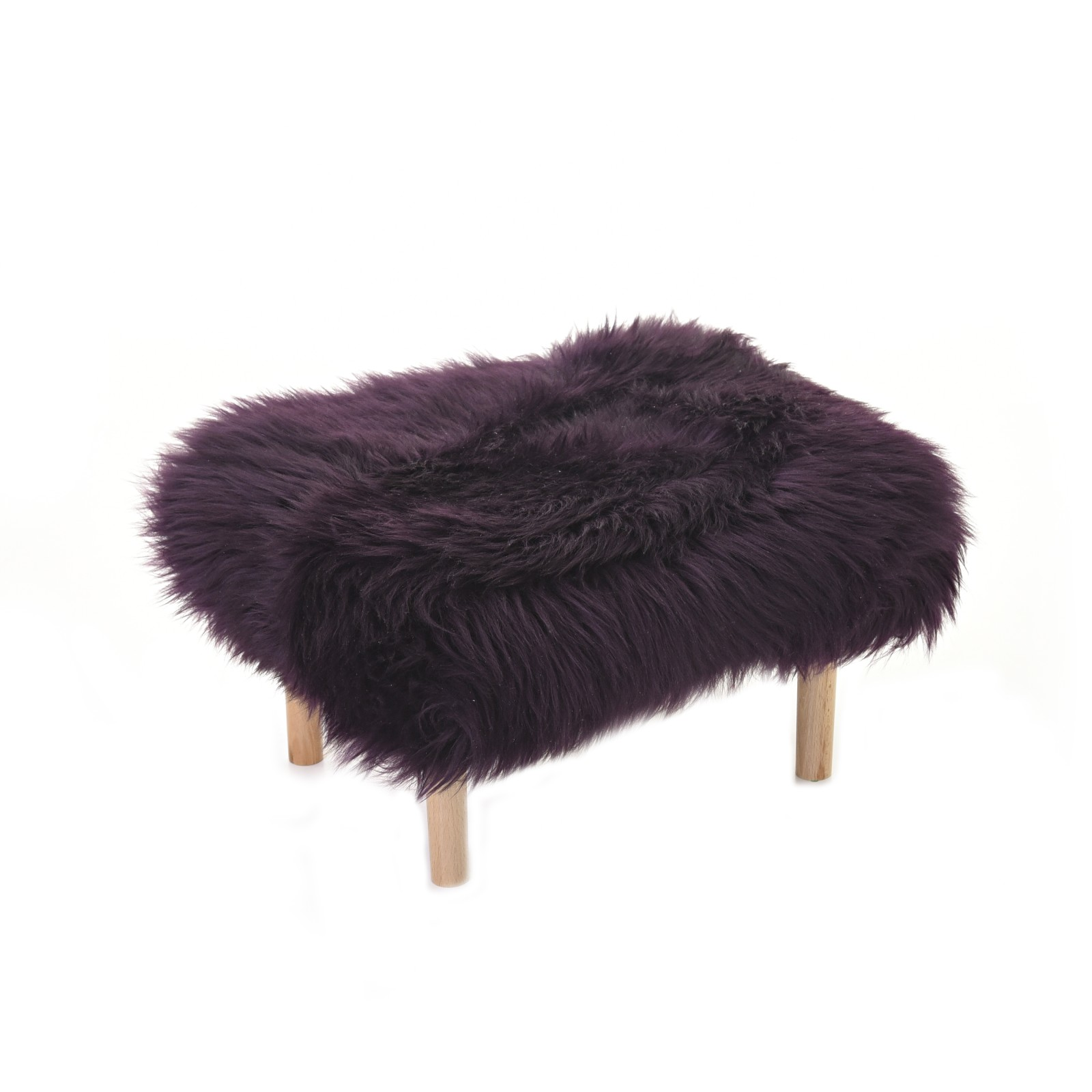 Bethan Sheepskin Footstool Aubergine