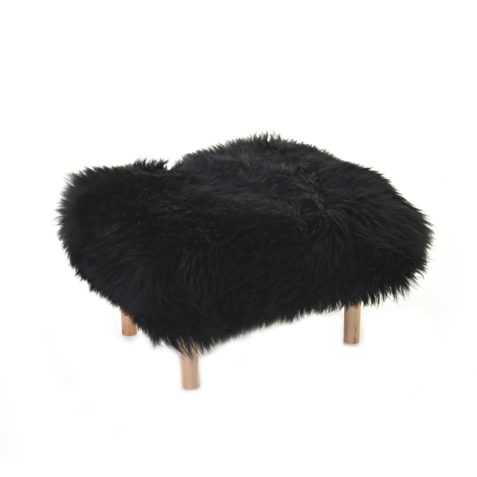 Bethan Sheepskin Footstool Coal Black