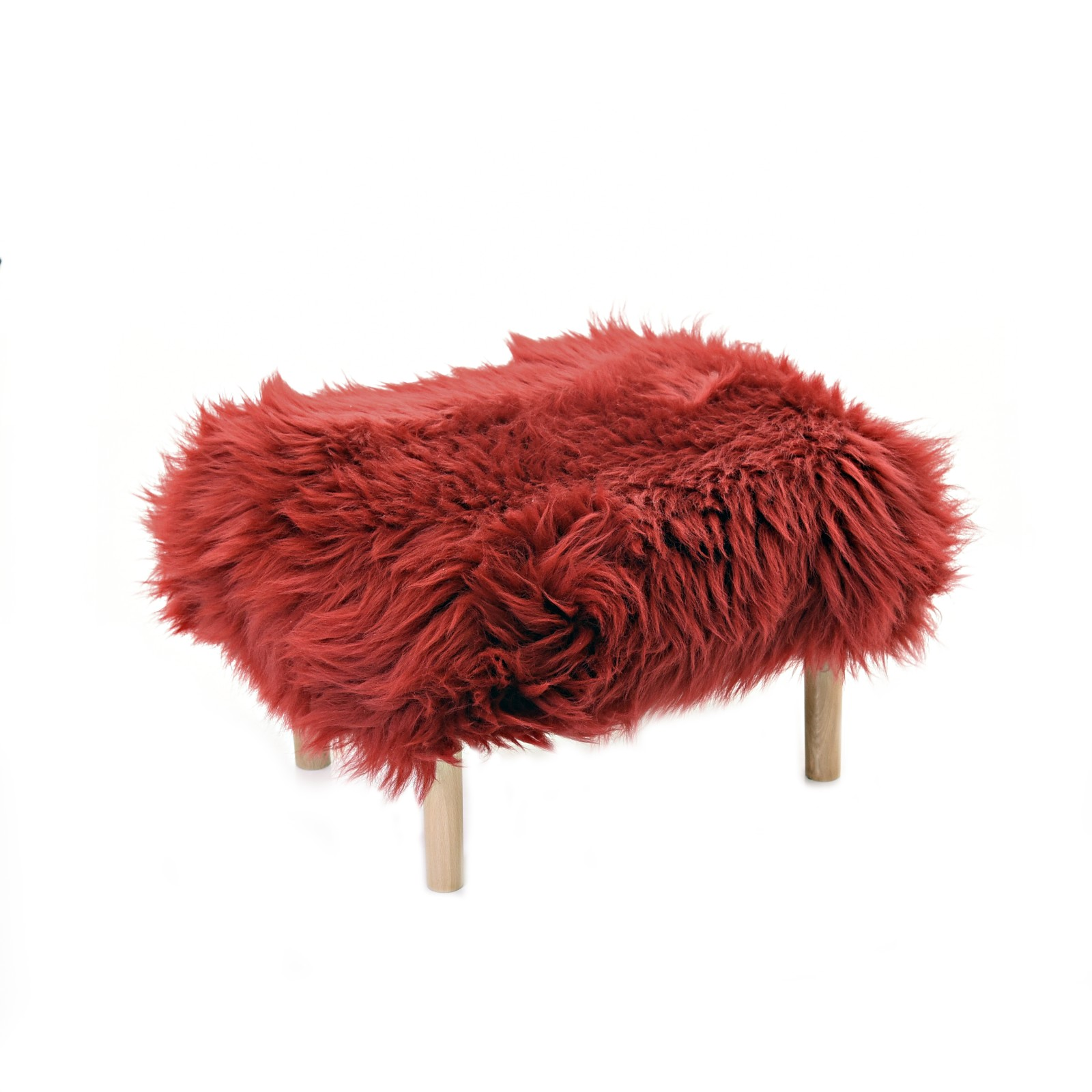 Bethan Sheepskin Footstool Dragon Red