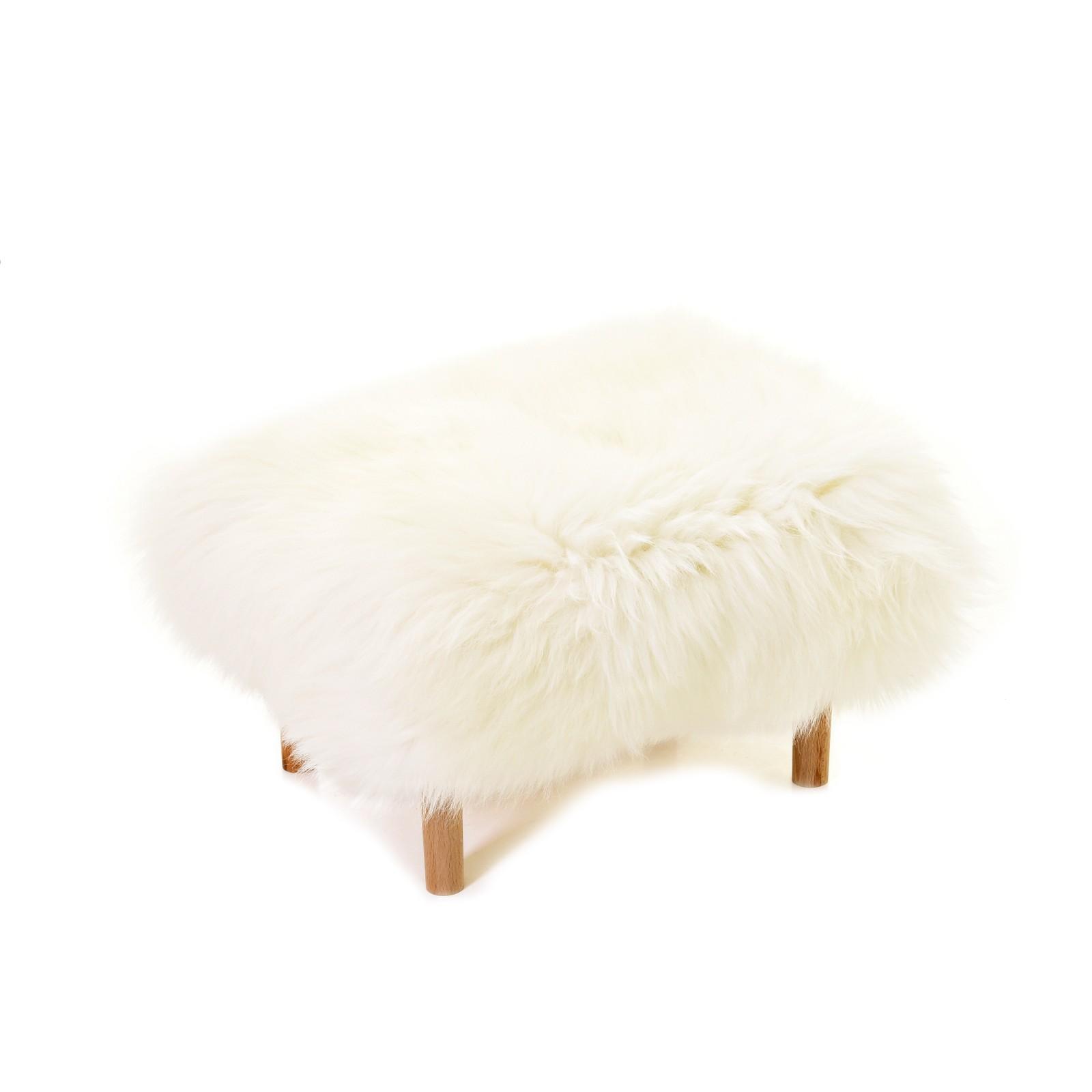 Bethan Sheepskin Footstool Ivory