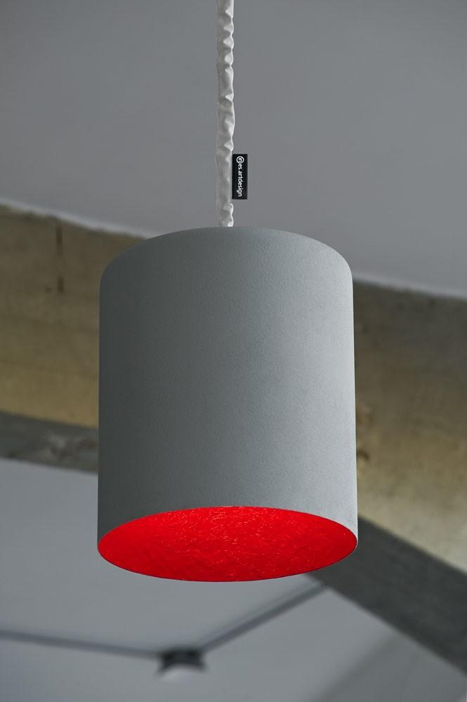 Bin Pendant Light Cement, Red