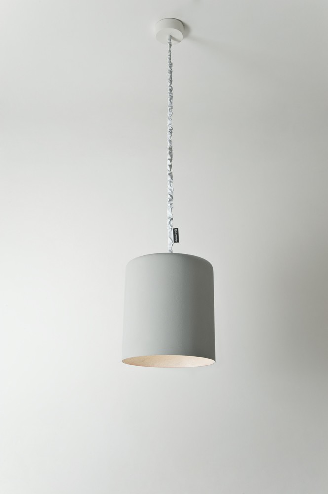Bin Pendant Light Cement, White
