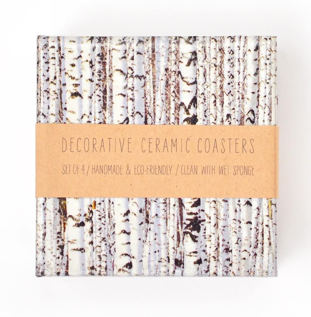 Birch Trees Tile Coasters