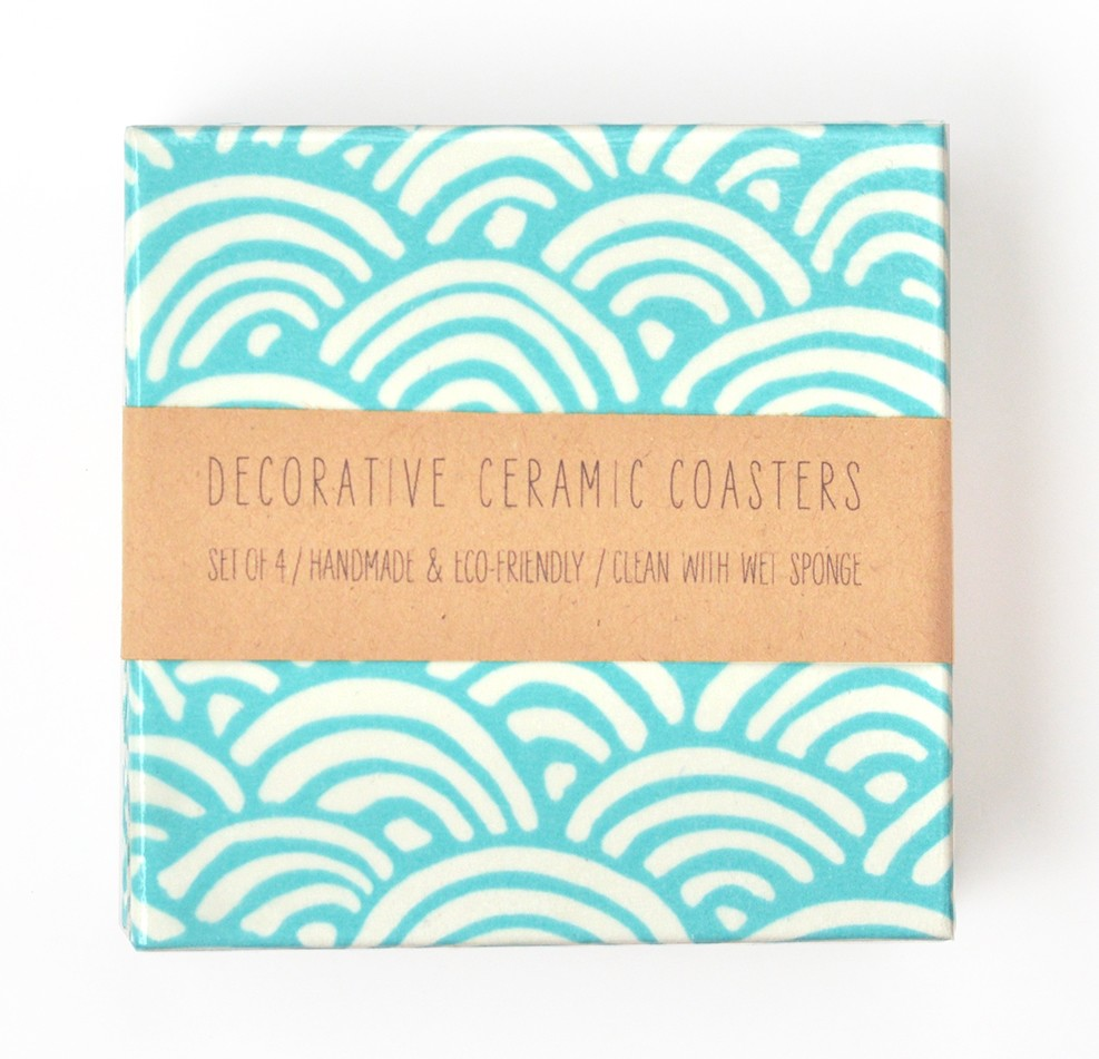 Blue Waves Ceramic Tile Coasters