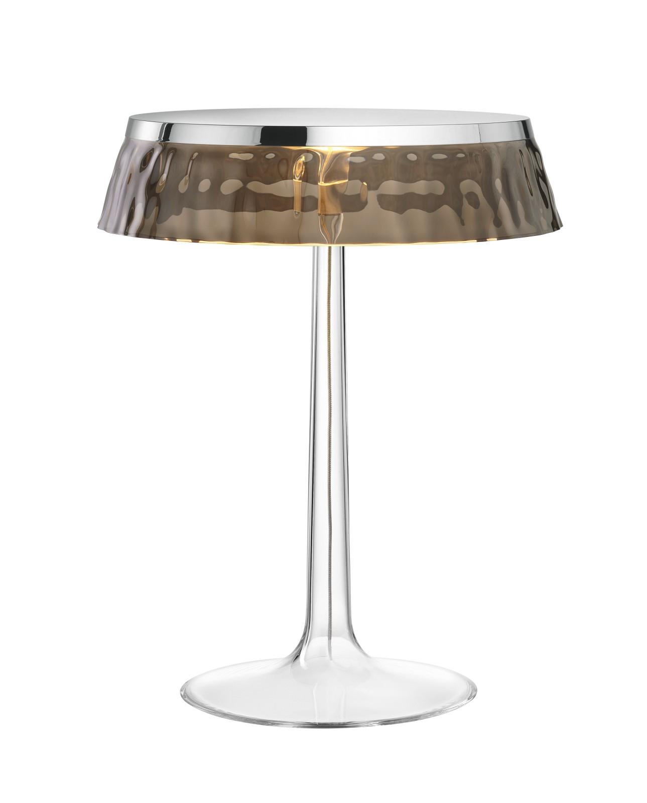 Bon Jour T Table Lamp Chrome Top, Fumée Shade