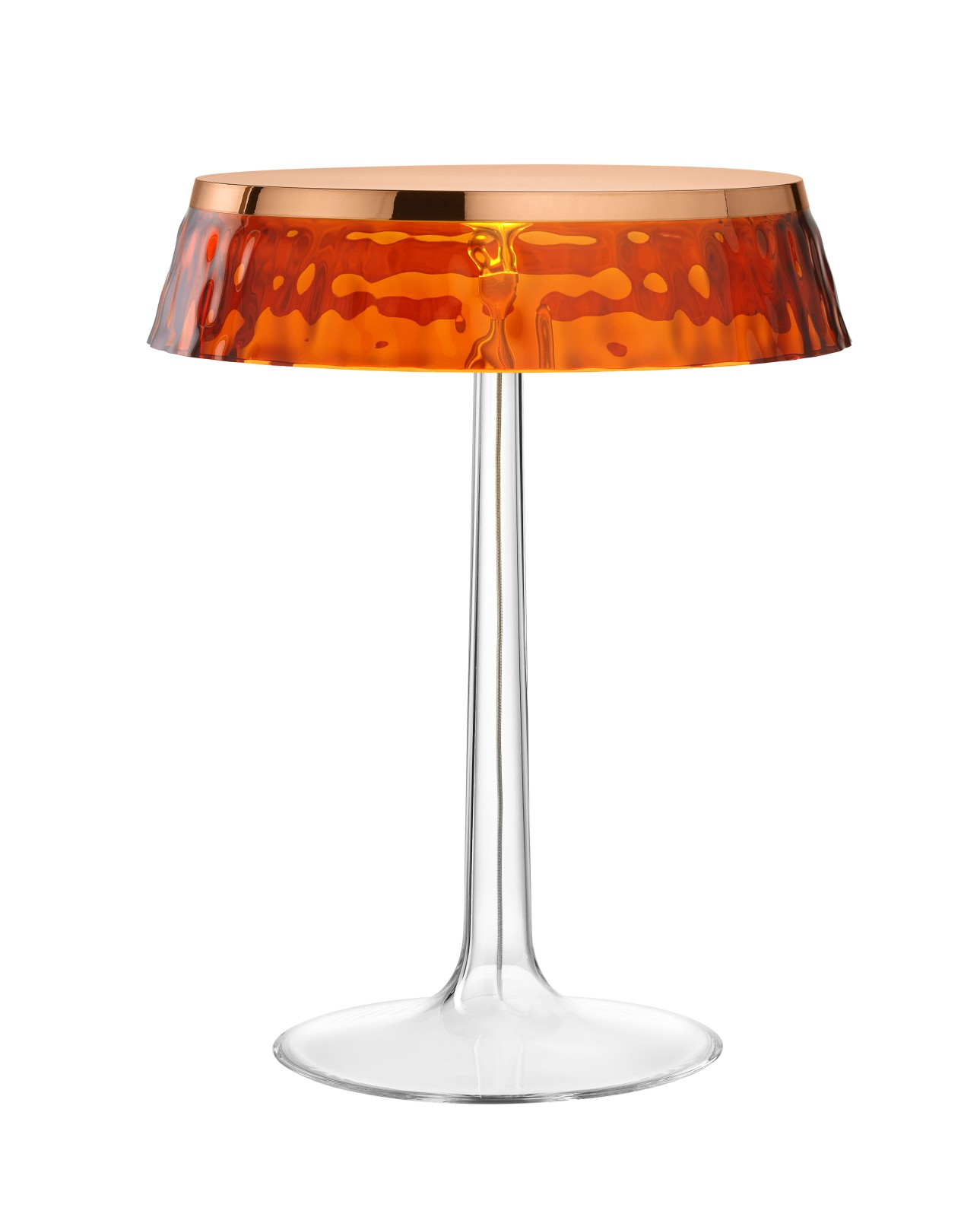 Bon Jour T Table Lamp Copper Top, Amber Shade