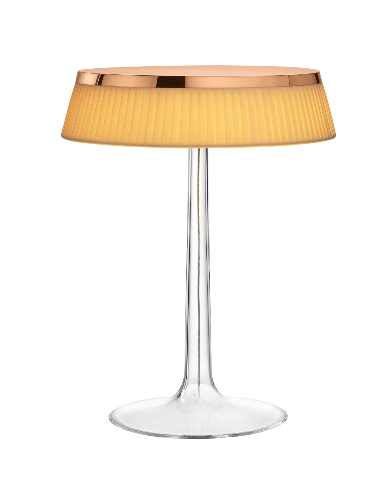 Bon Jour T Table Lamp Copper Top, Fabric Shade