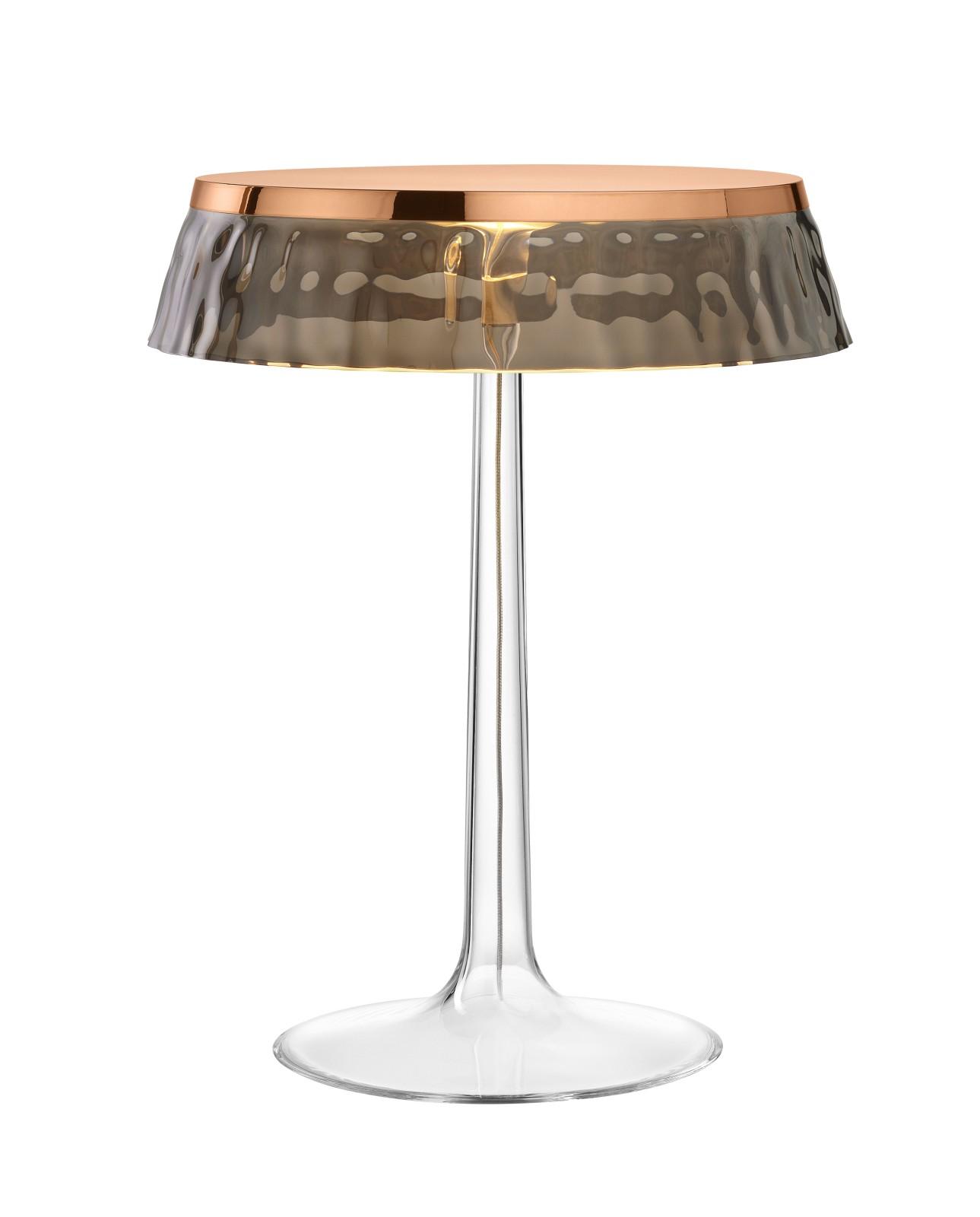 Bon Jour T Table Lamp Copper Top, Fumée Shade