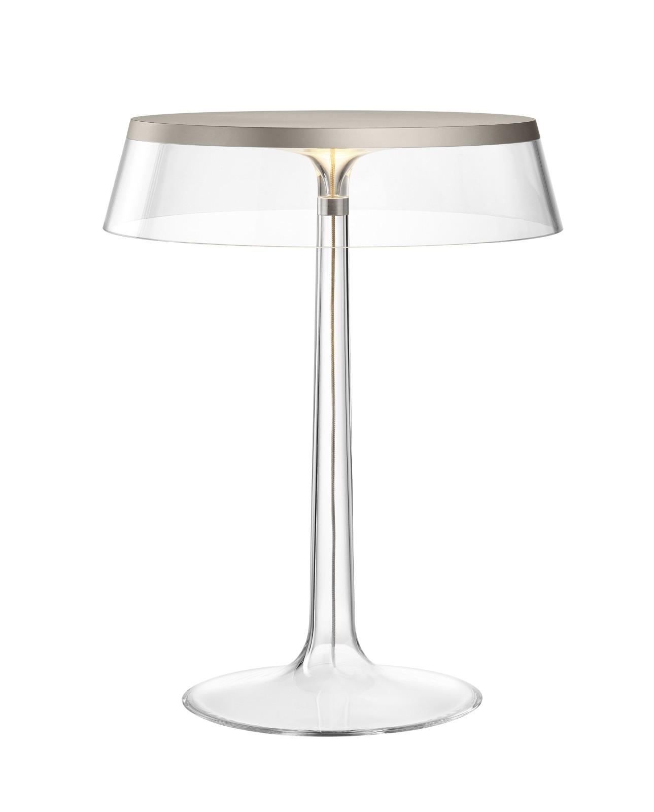 Bon Jour T Table Lamp Matt Chrome Top, Transparent Shade
