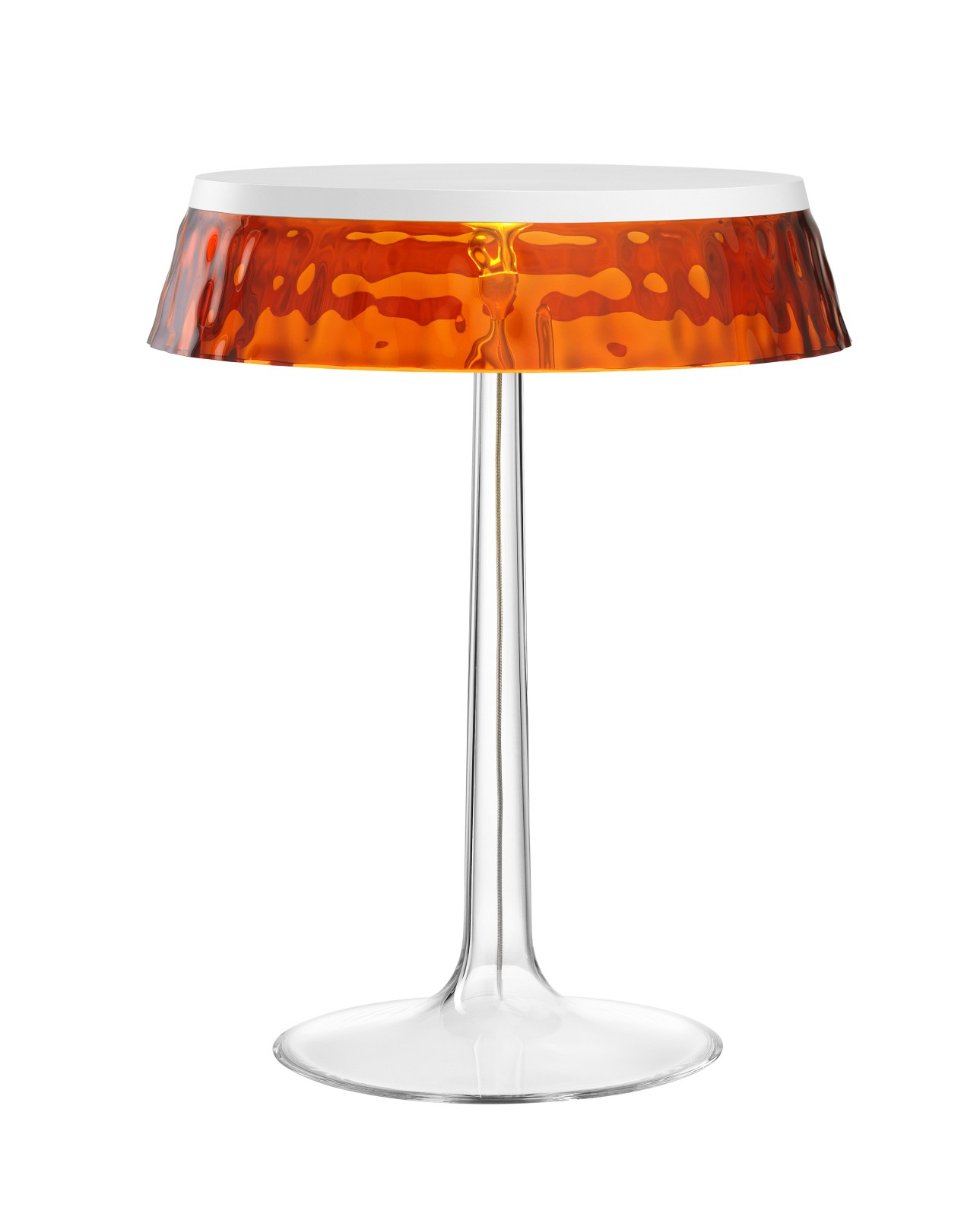 Bon Jour T Table Lamp White Top, Amber Shade