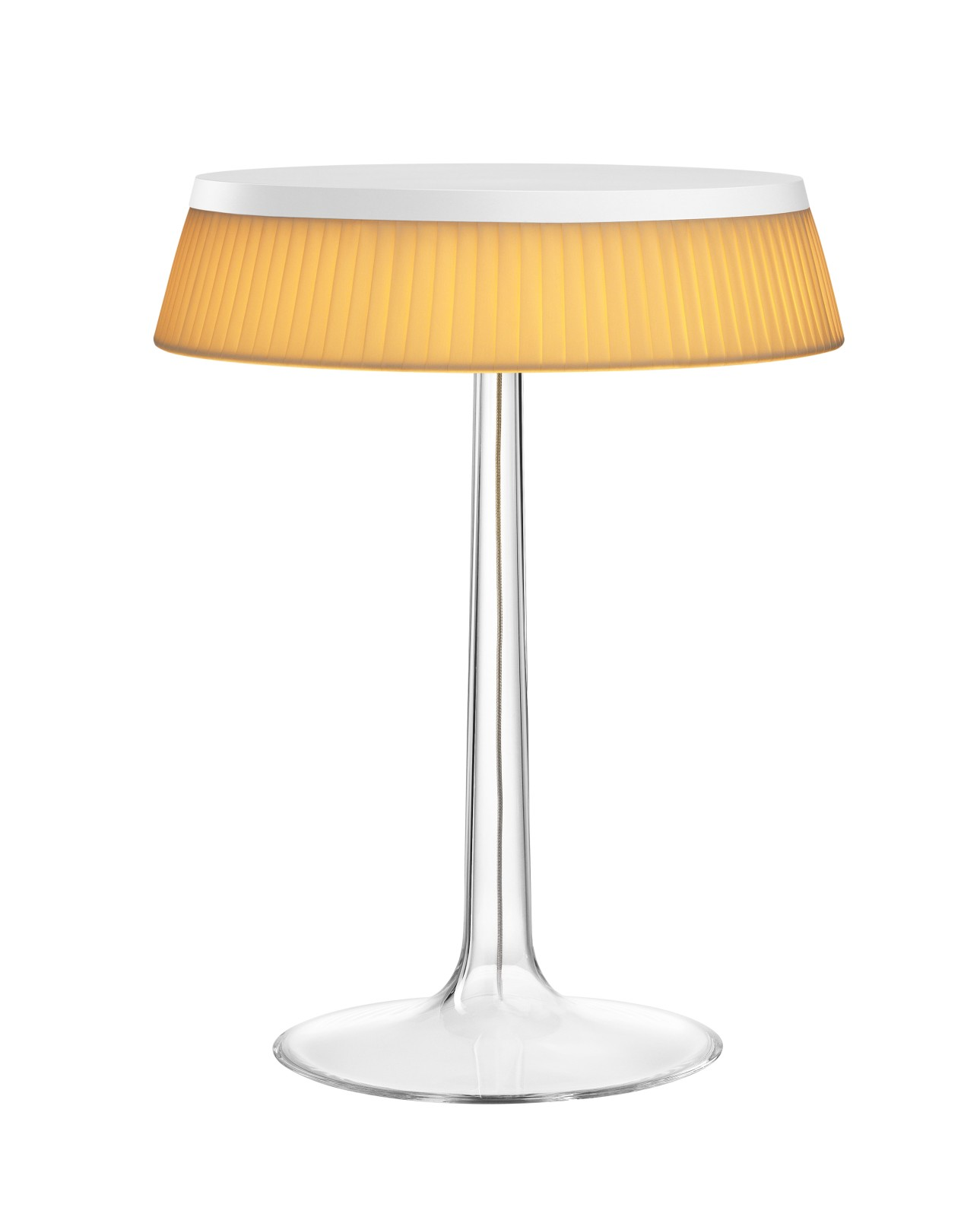 Bon Jour T Table Lamp White Top, Fabric Shade