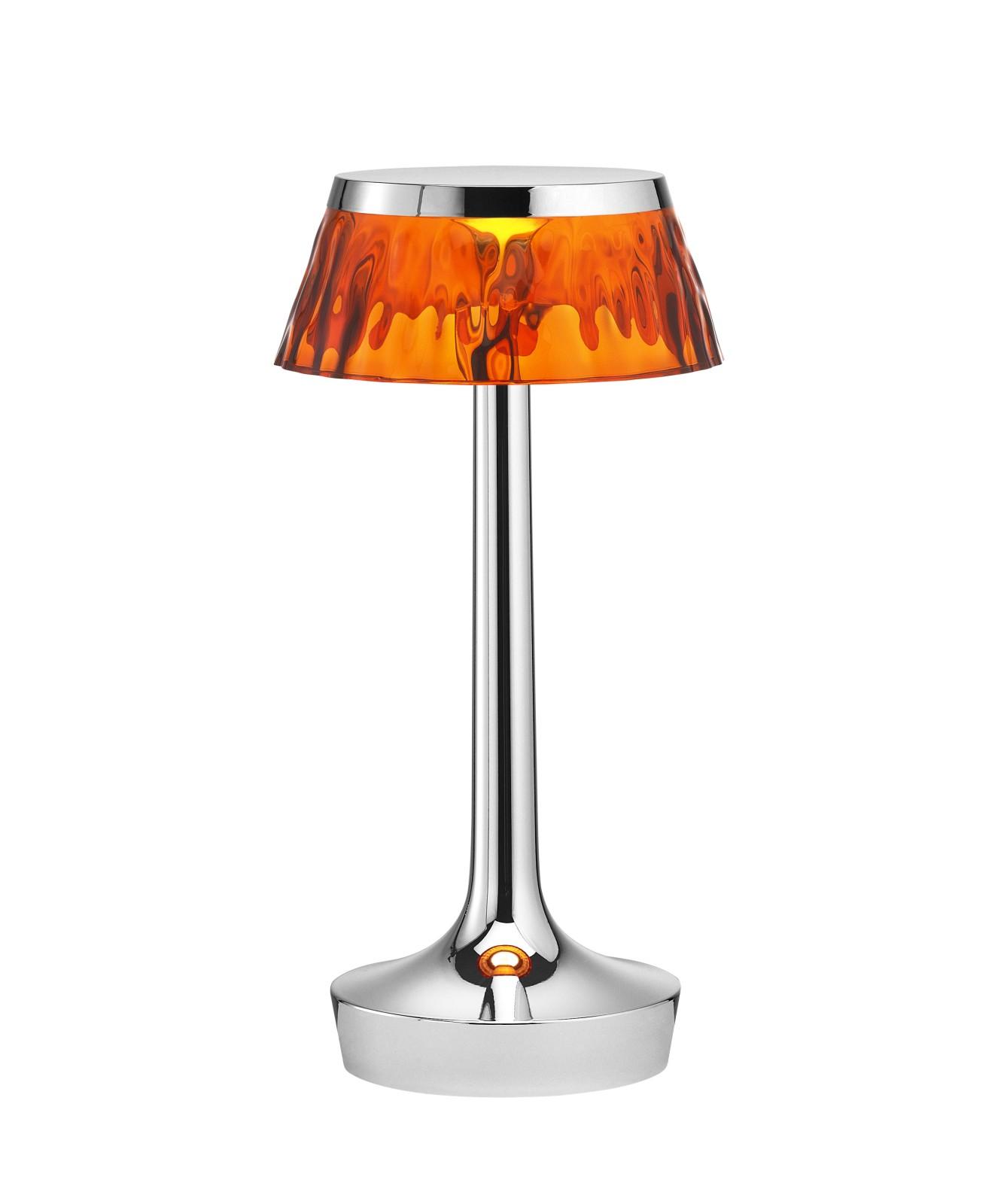 Bon Jour Unplugged Table Lamp Chrome finish, Amber shade