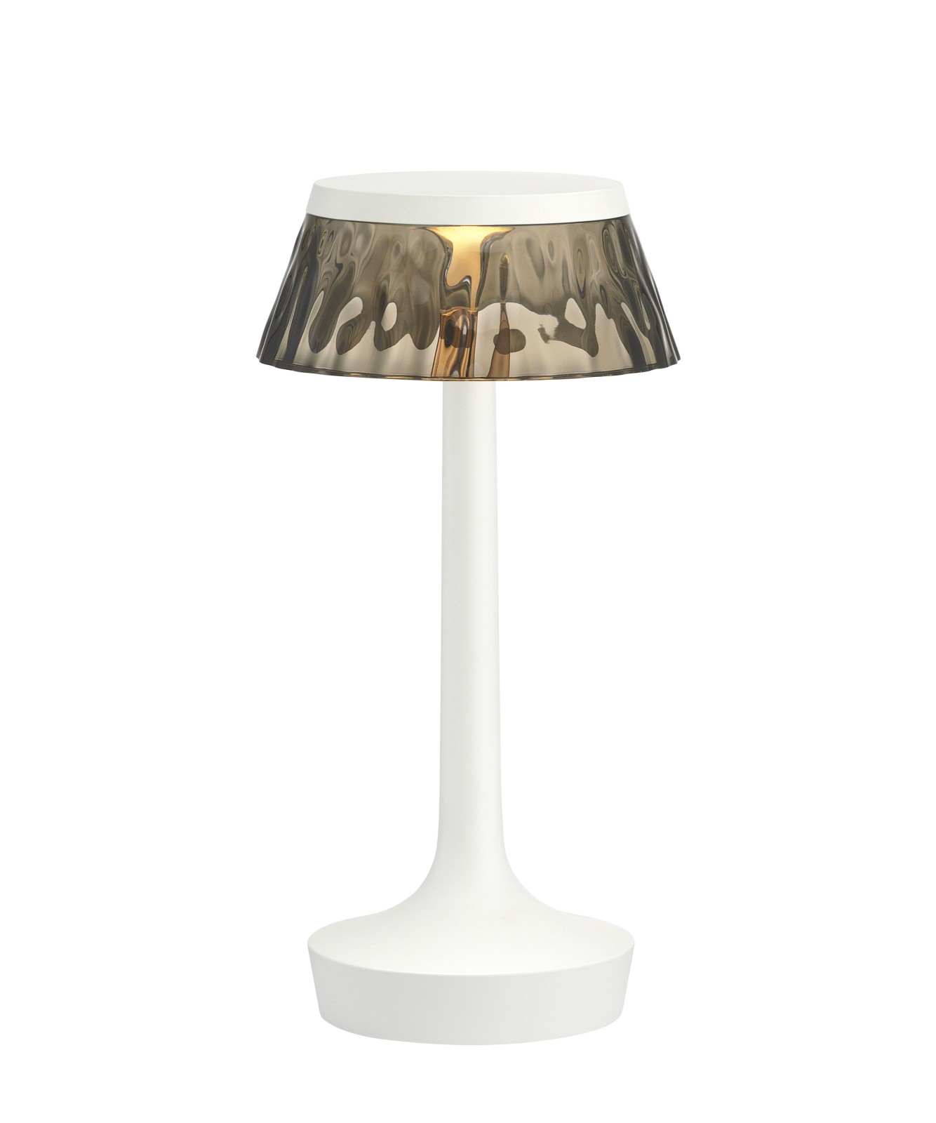 Bon Jour Unplugged Table Lamp White finish, Fumée shade