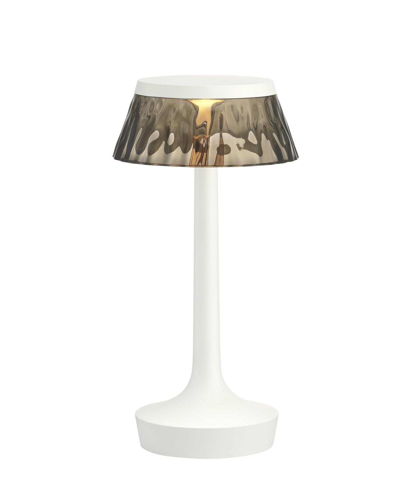 Bon Jour Unplugged Table Lamp White finish, Fumée shade