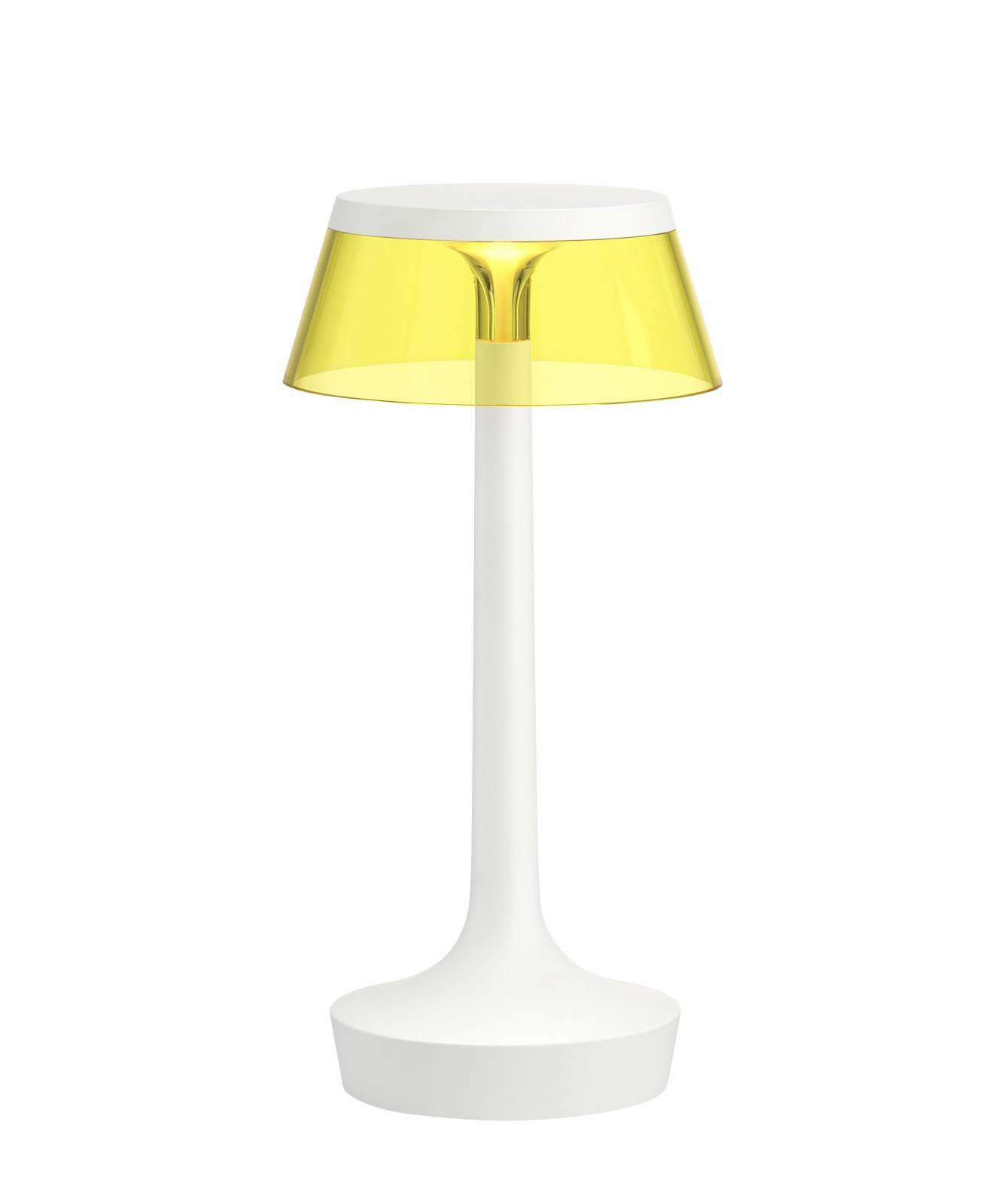 Bon Jour Unplugged Table Lamp White, Yellow shade