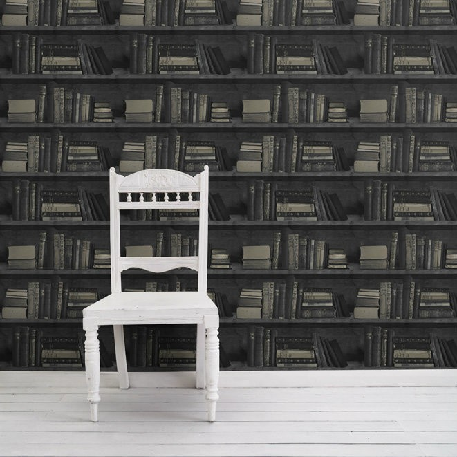 Bookshelf Wallpaper Samples Dark Bookshelf Wallpaper Sample